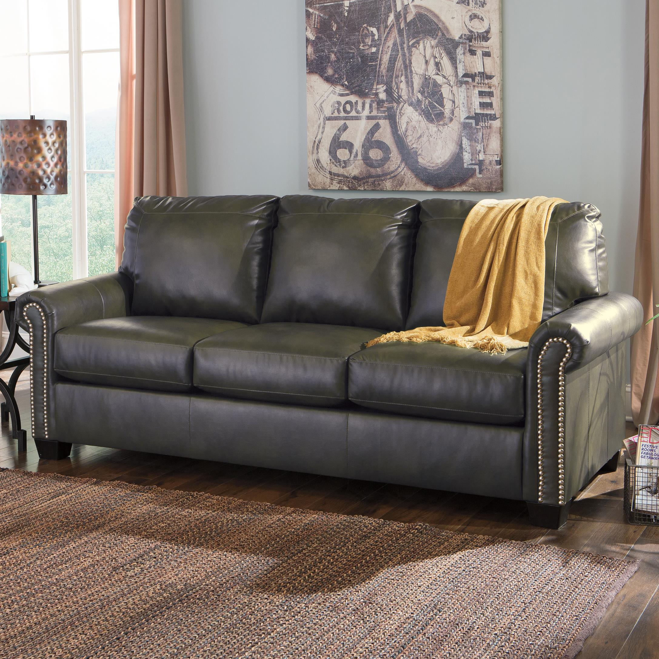 Transitional Bonded Leather Match 84 Queen Sofa Sleeper