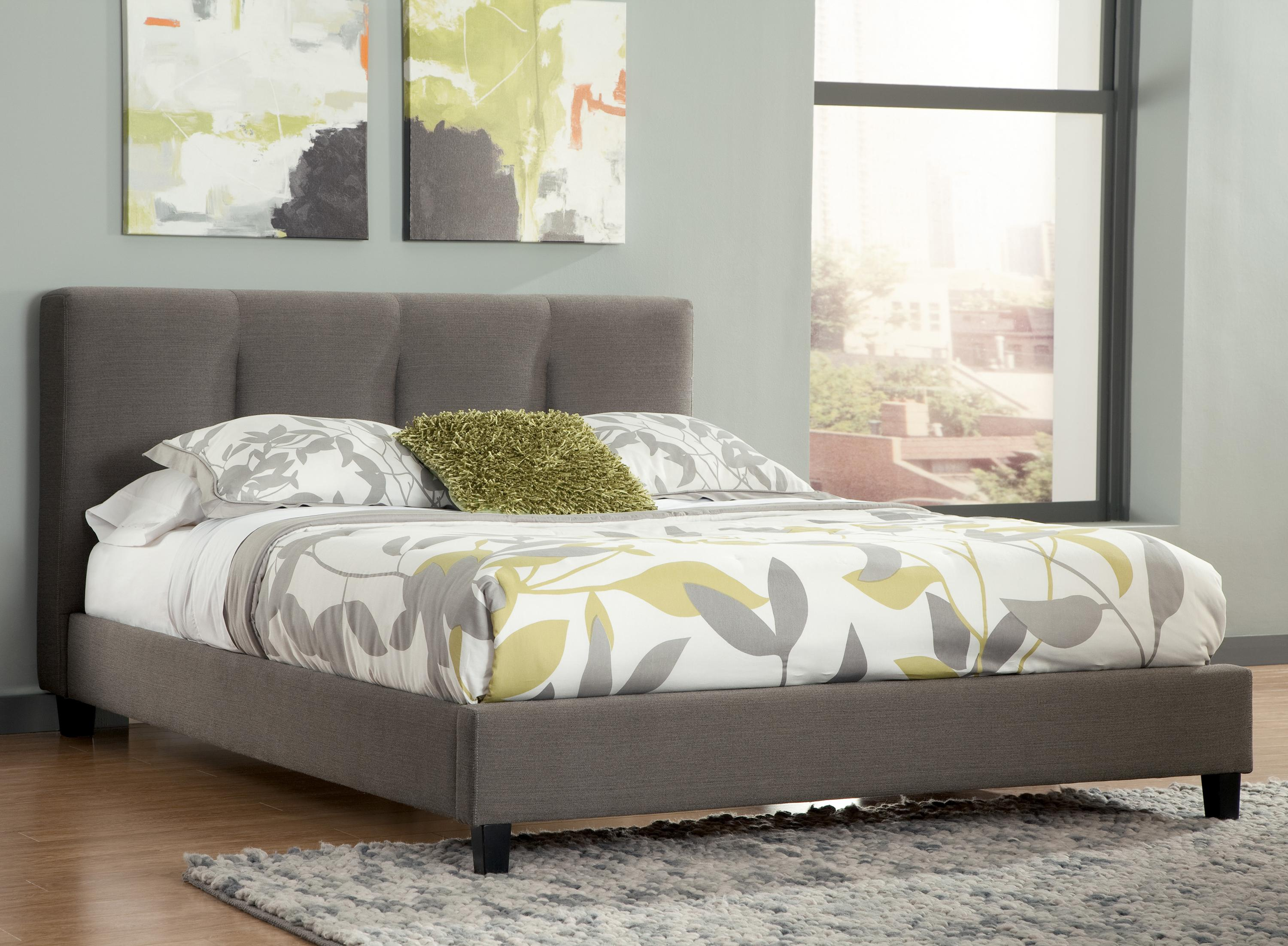 King upholstered platform bed with channel tufted for Upholstered beds