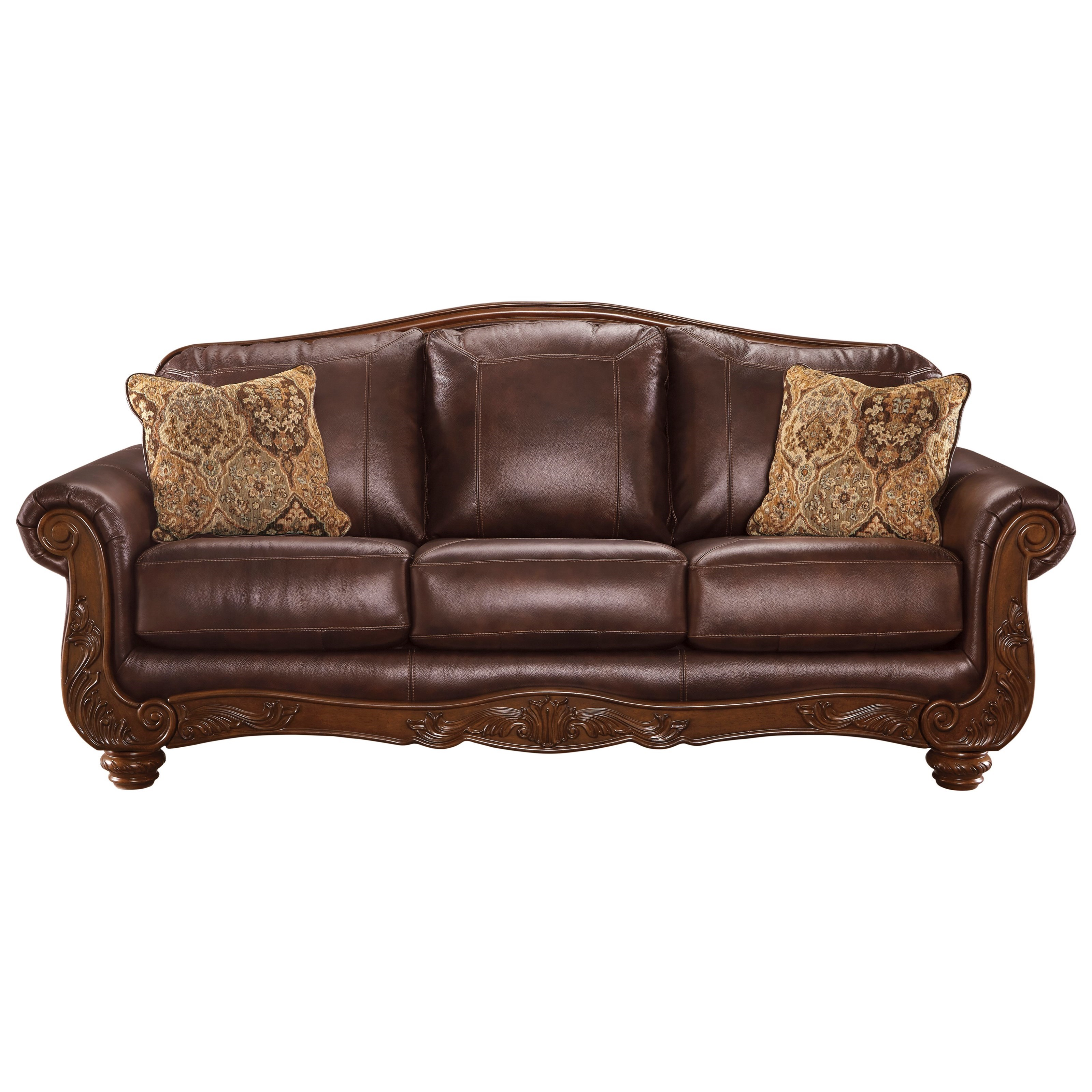 Traditional leather match sofa by signature design by for Signature furniture