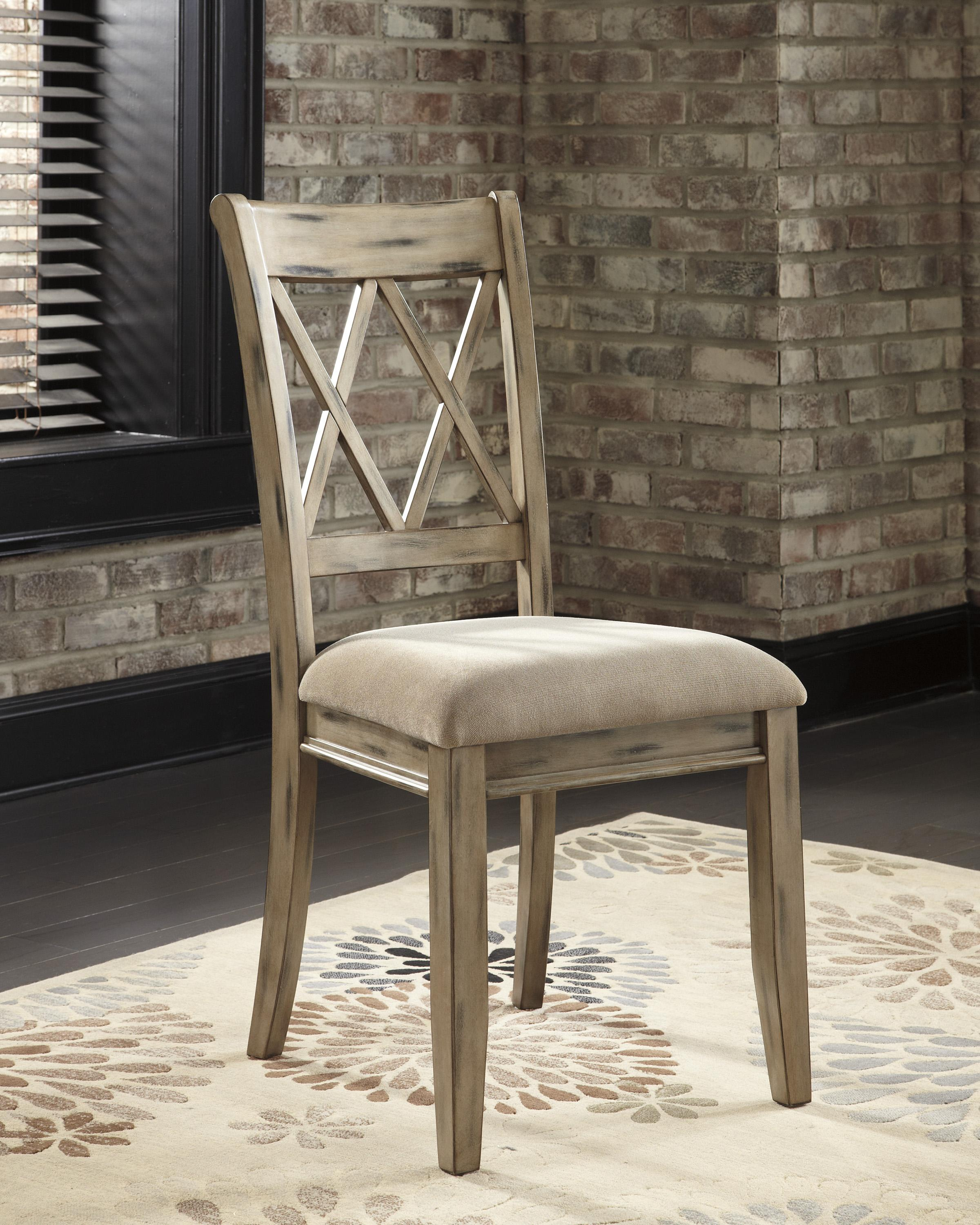 7 piece table set with antique white side chairs with for White wood upholstered dining chairs