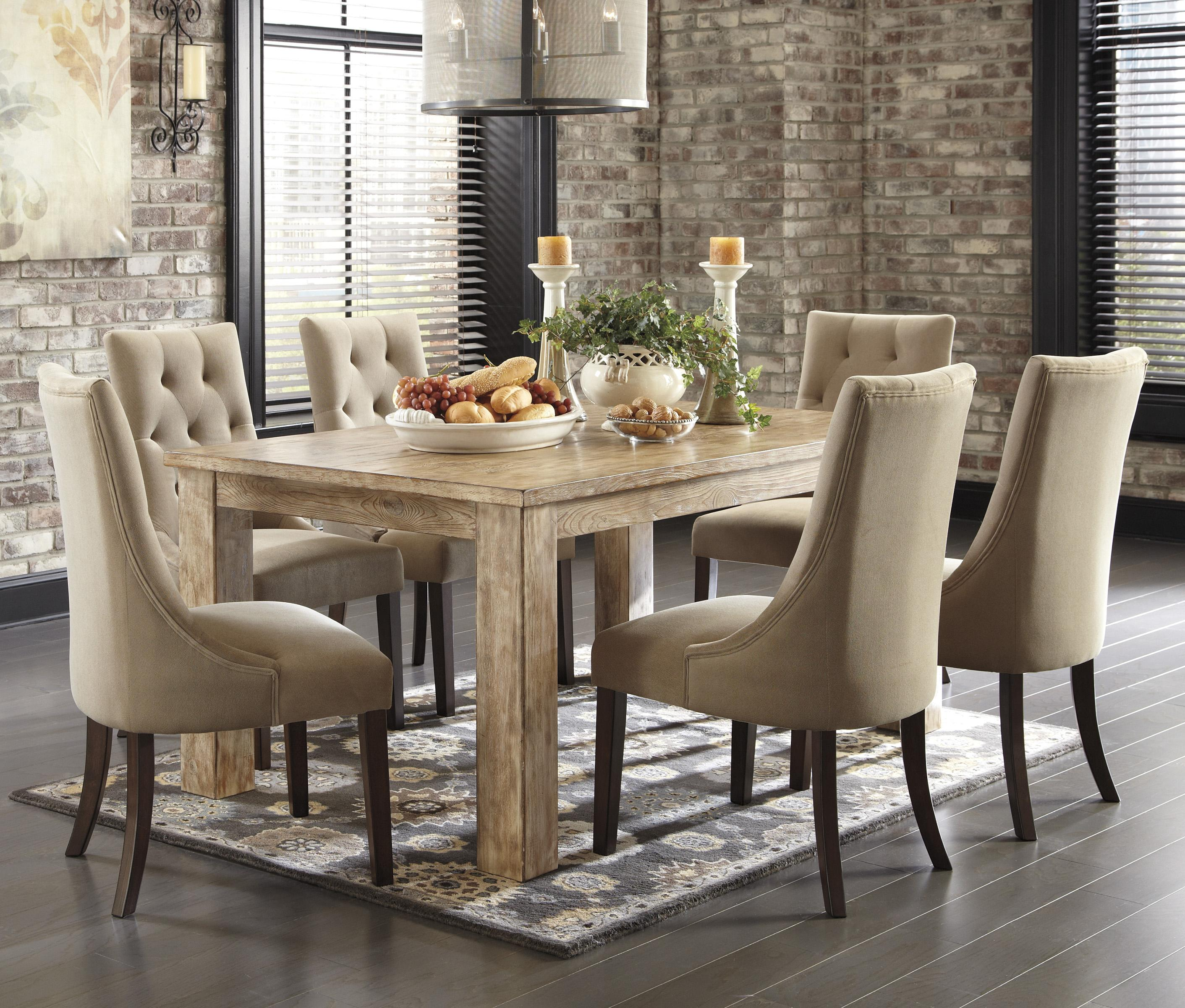7 piece dining set with upholstered side chairs by for Ashley furniture dining room sets design