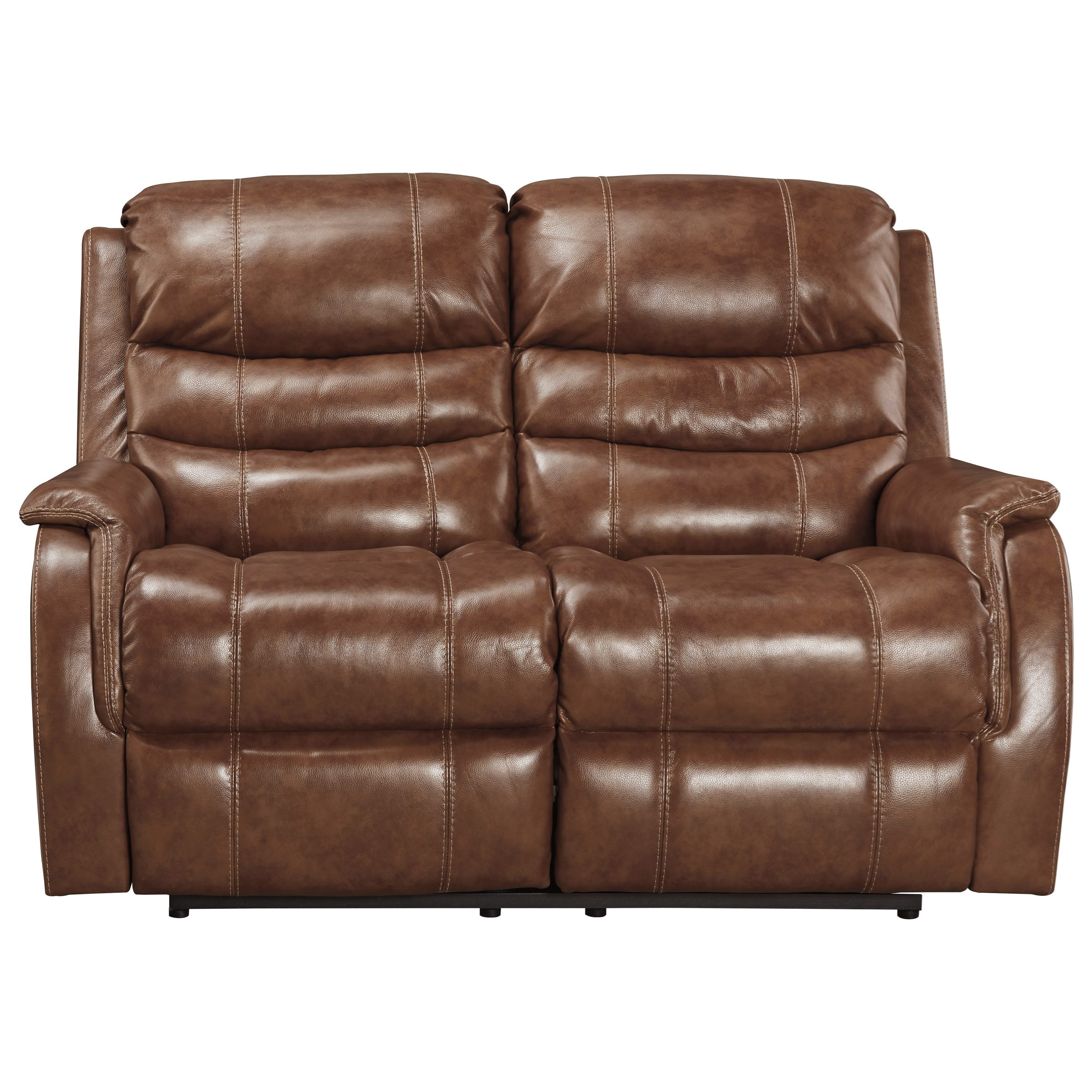 Leather Match Power Reclining Loveseat W Adj Headrest By
