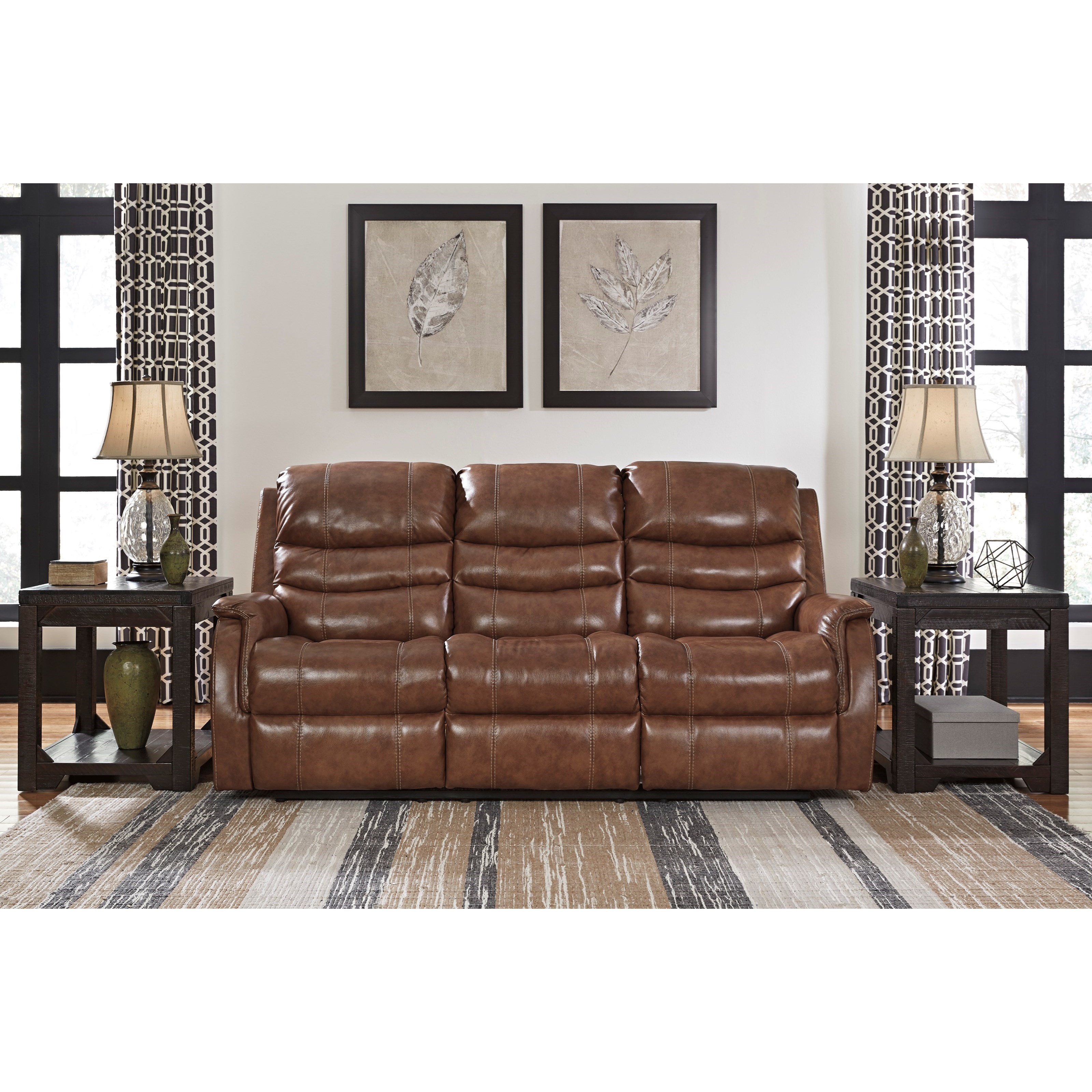 Leather match power reclining sofa w adjustable headrest for American signature furniture locations pa