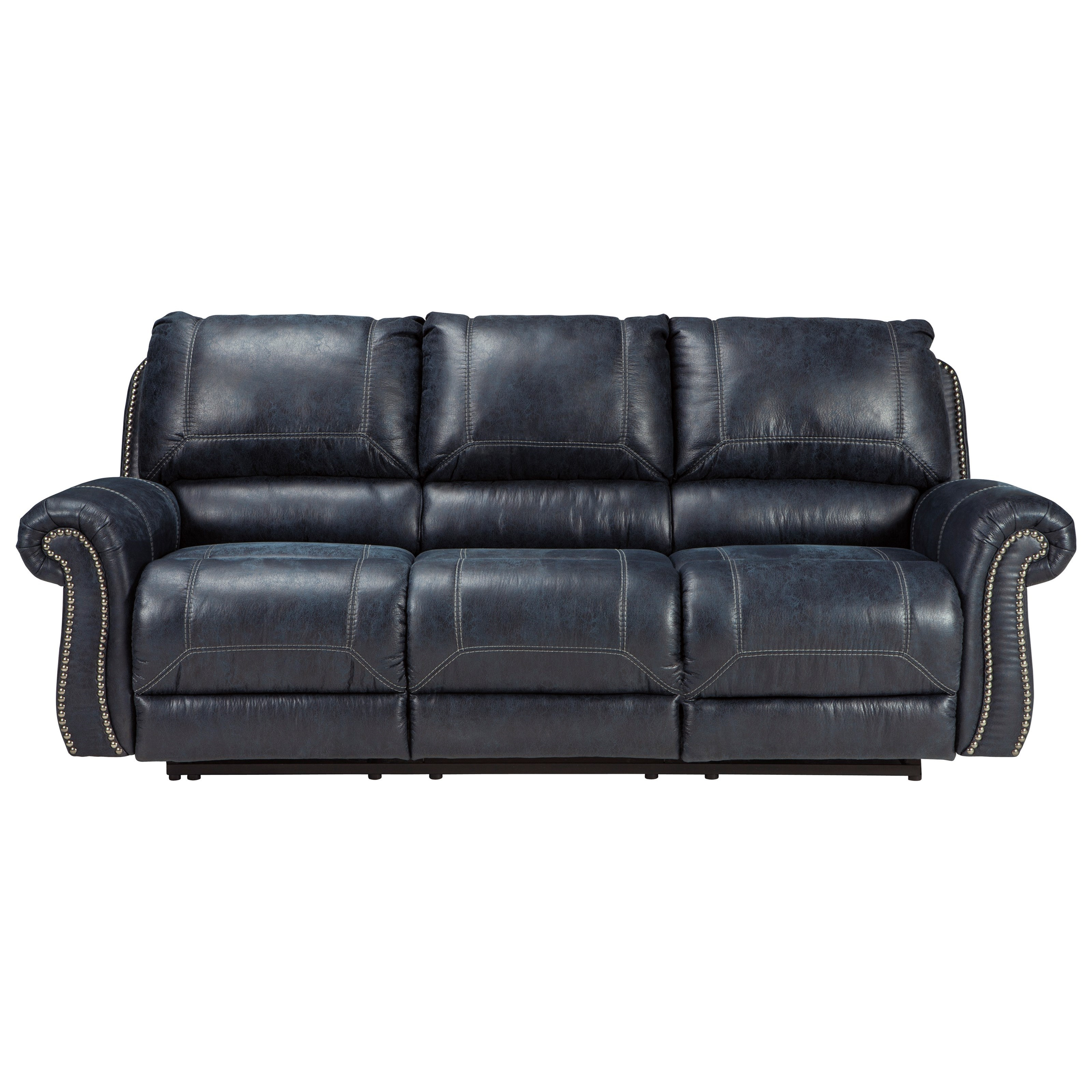 Faux leather reclining sofa with rolled arms nailhead for Sectional sofas with recliners ashley