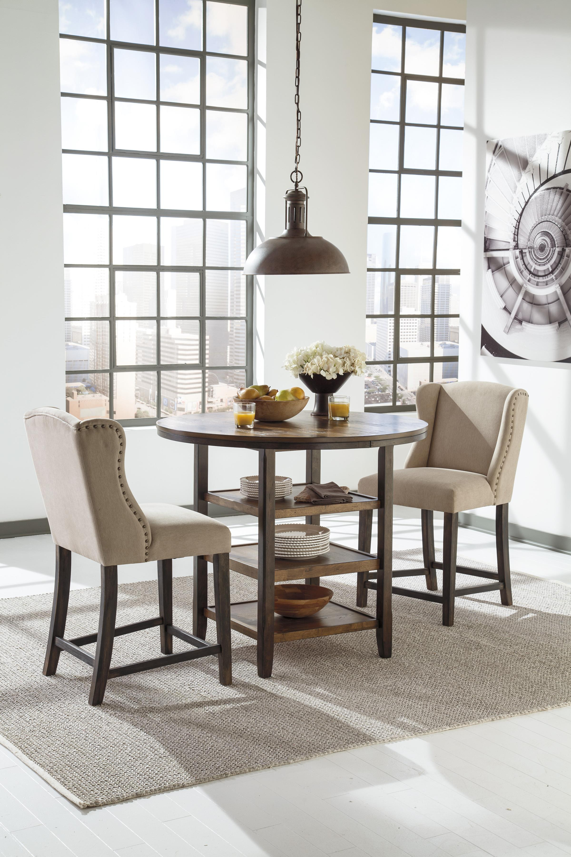 3 Piece Counter Table Set with Beige Wing Back Barstools