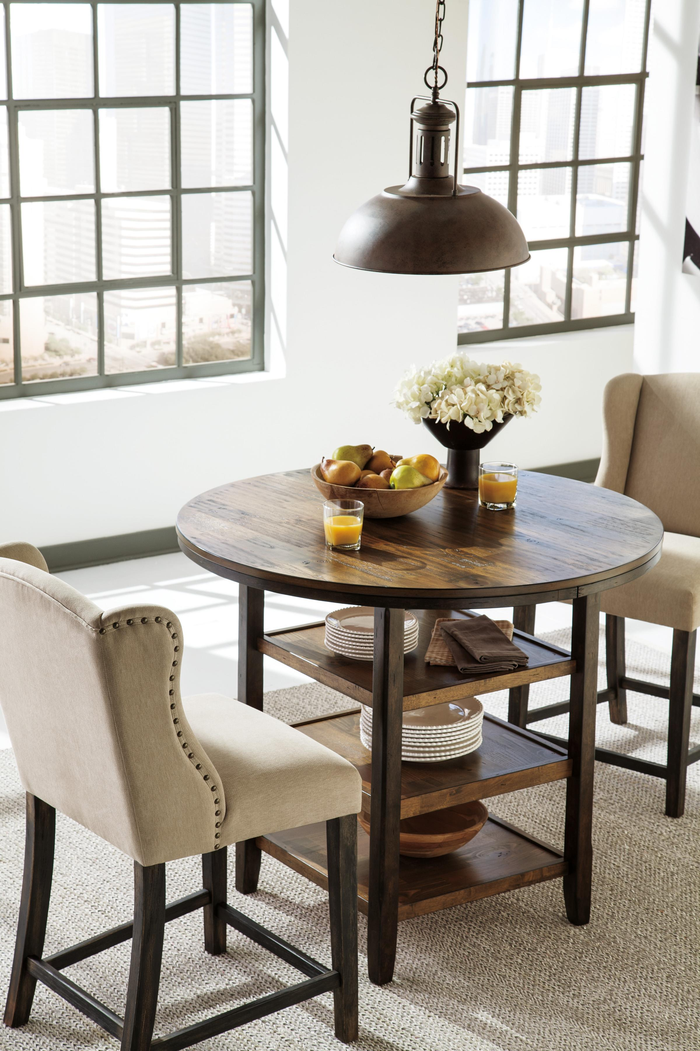 Round Dining Room Counter Table with 3 Shelves
