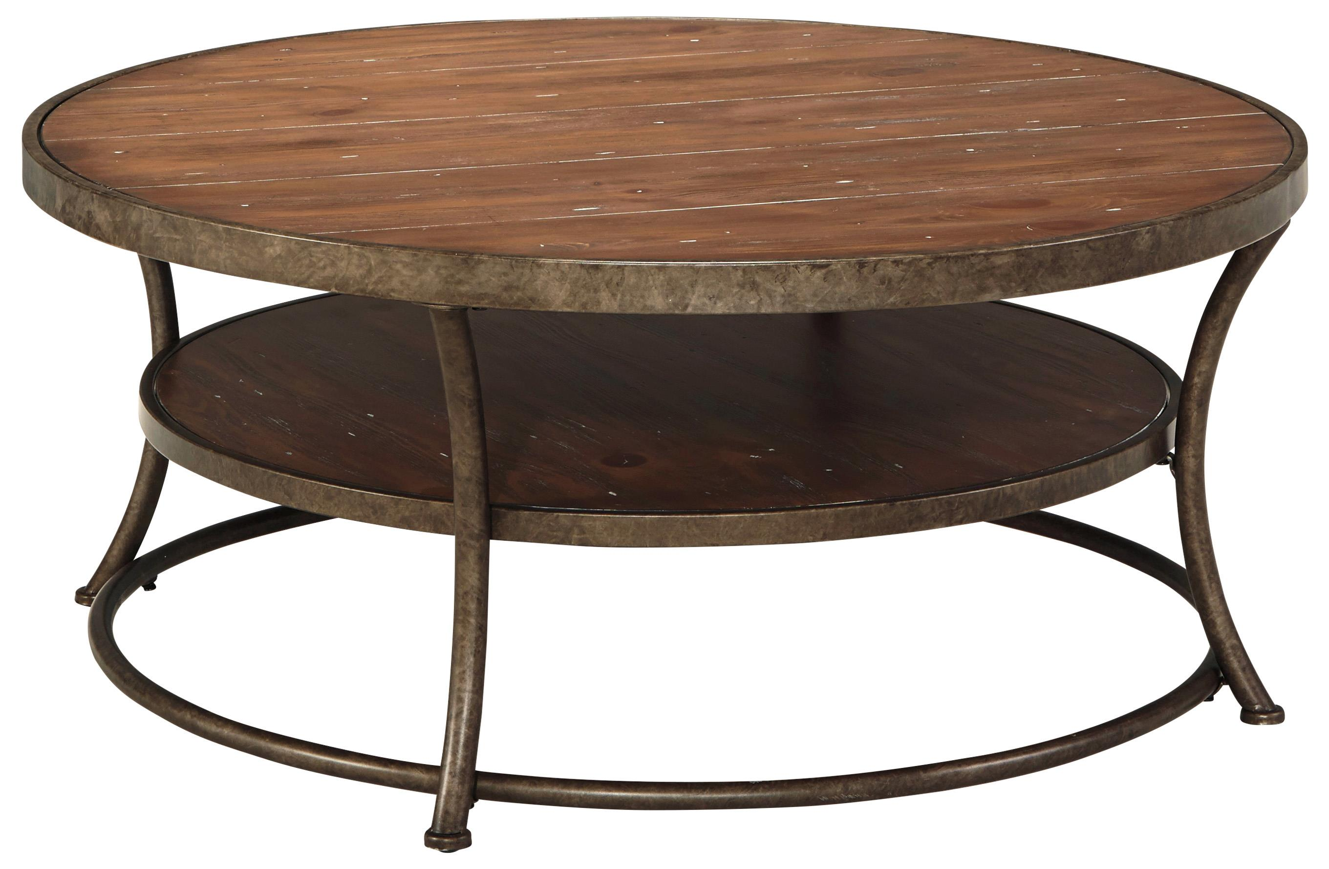 Rustic metal frame round cocktail table with distressed pine top shelf by signature design by Round rustic coffee table