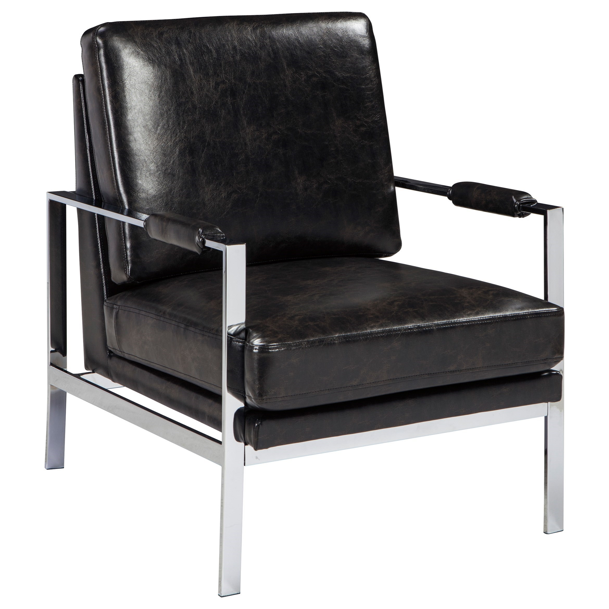 chrome finish metal arm accent chair with black faux leather by signature design by ashley. Black Bedroom Furniture Sets. Home Design Ideas