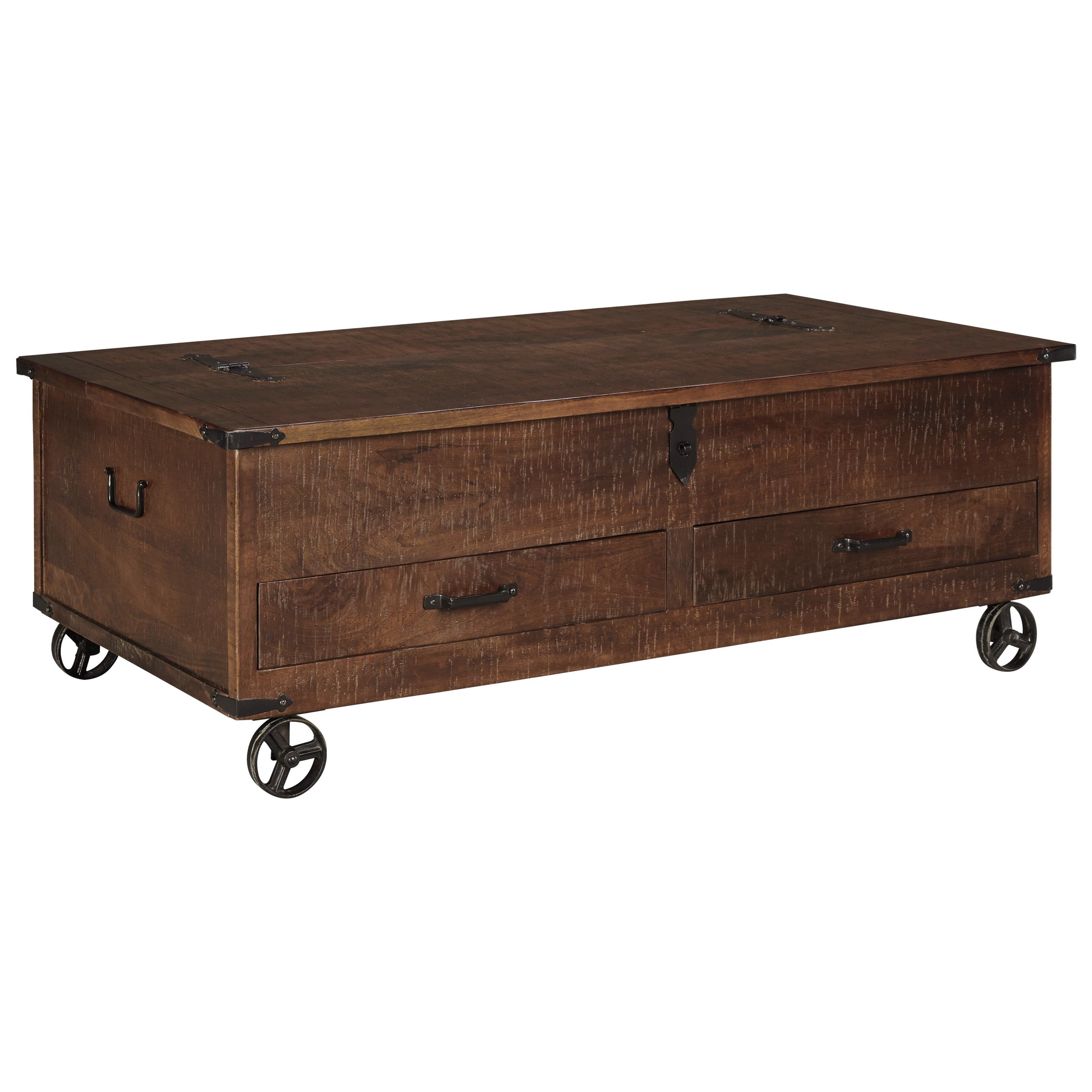 Rustic storage cocktail table with hinged top and for Coffee tables york pa