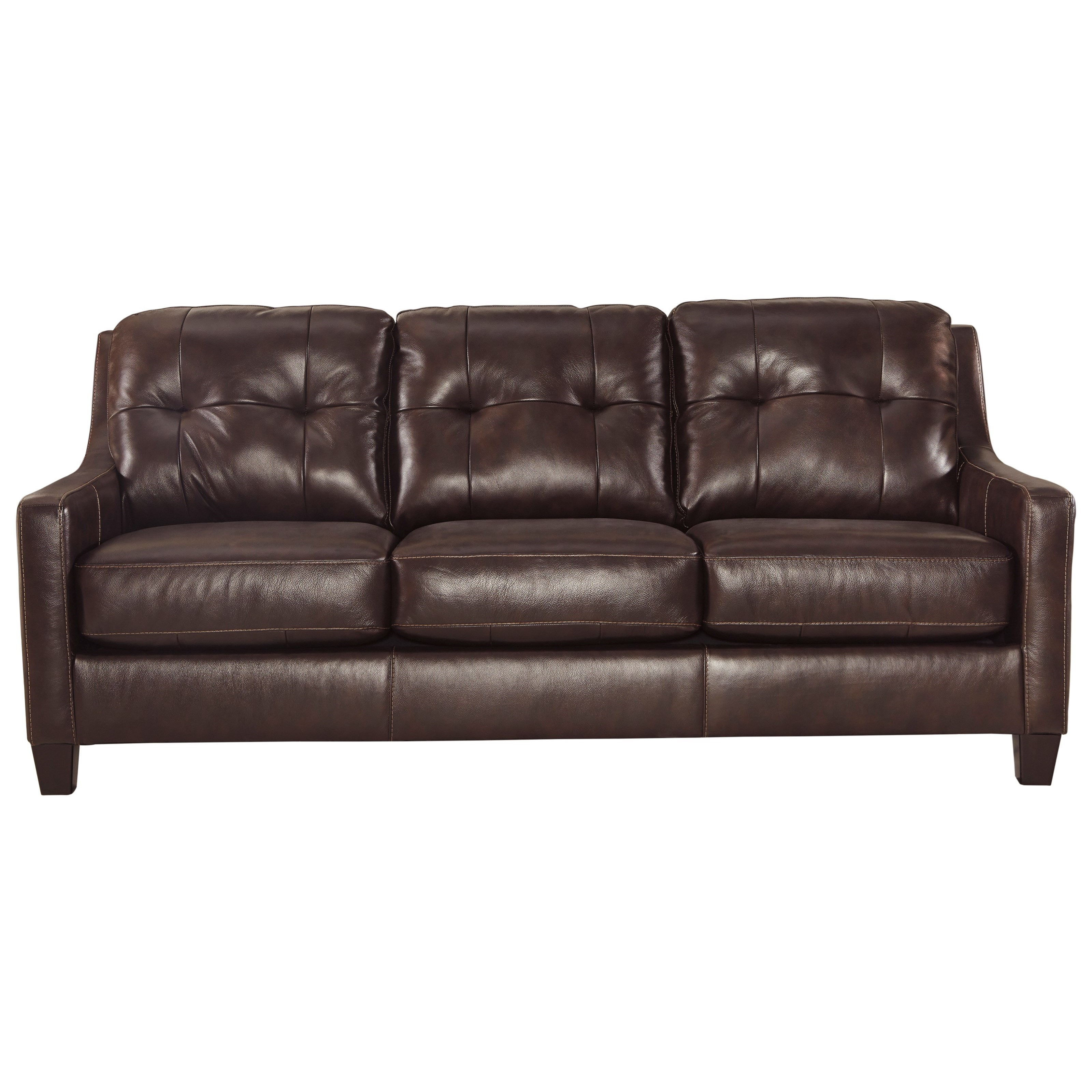 Contemporary leather match queen sofa sleeper by signature design by ashley wolf and gardiner Contemporary leather sofa