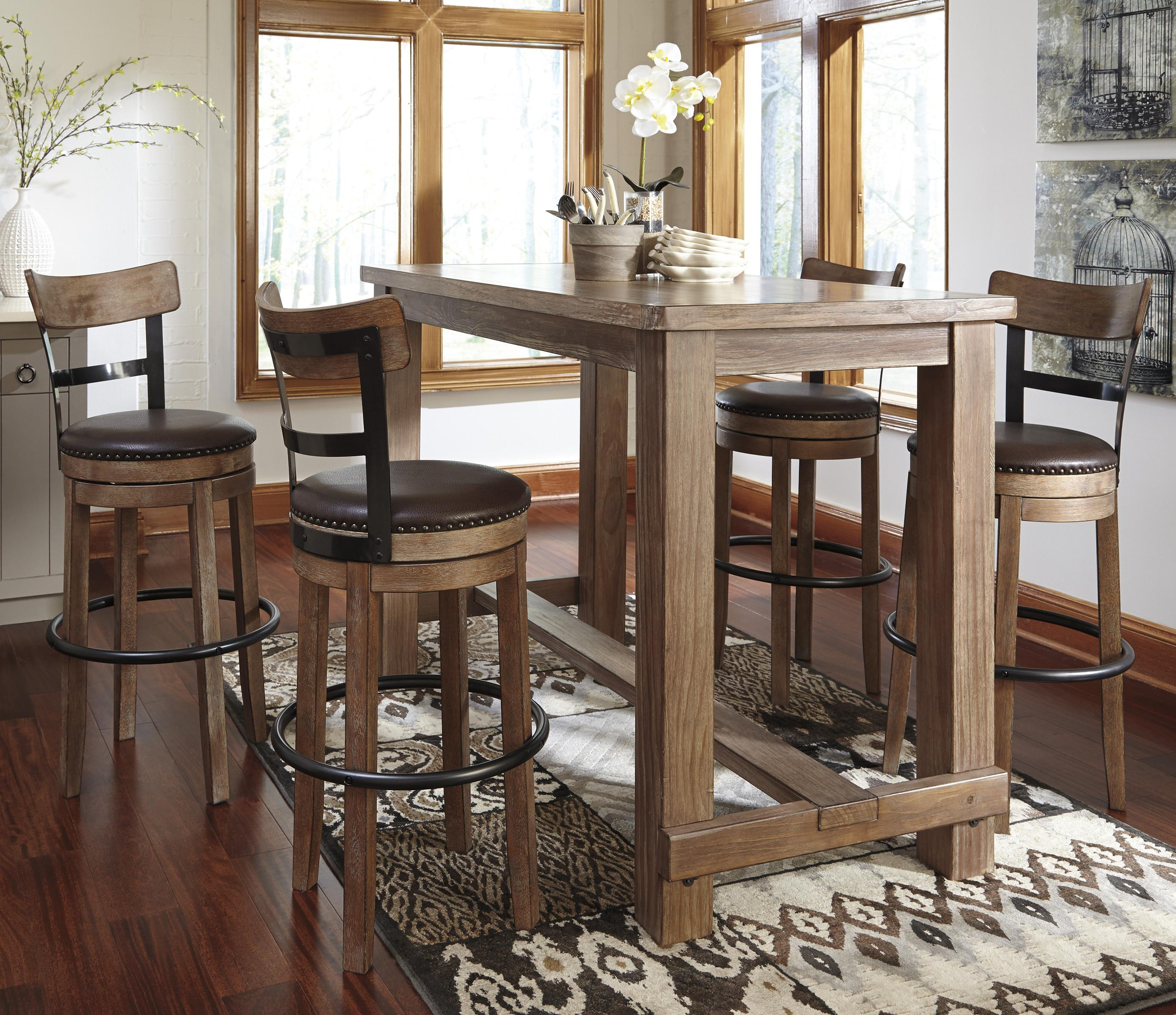 5 Piece Bar Table Set With Upholstered Swivel Stools With