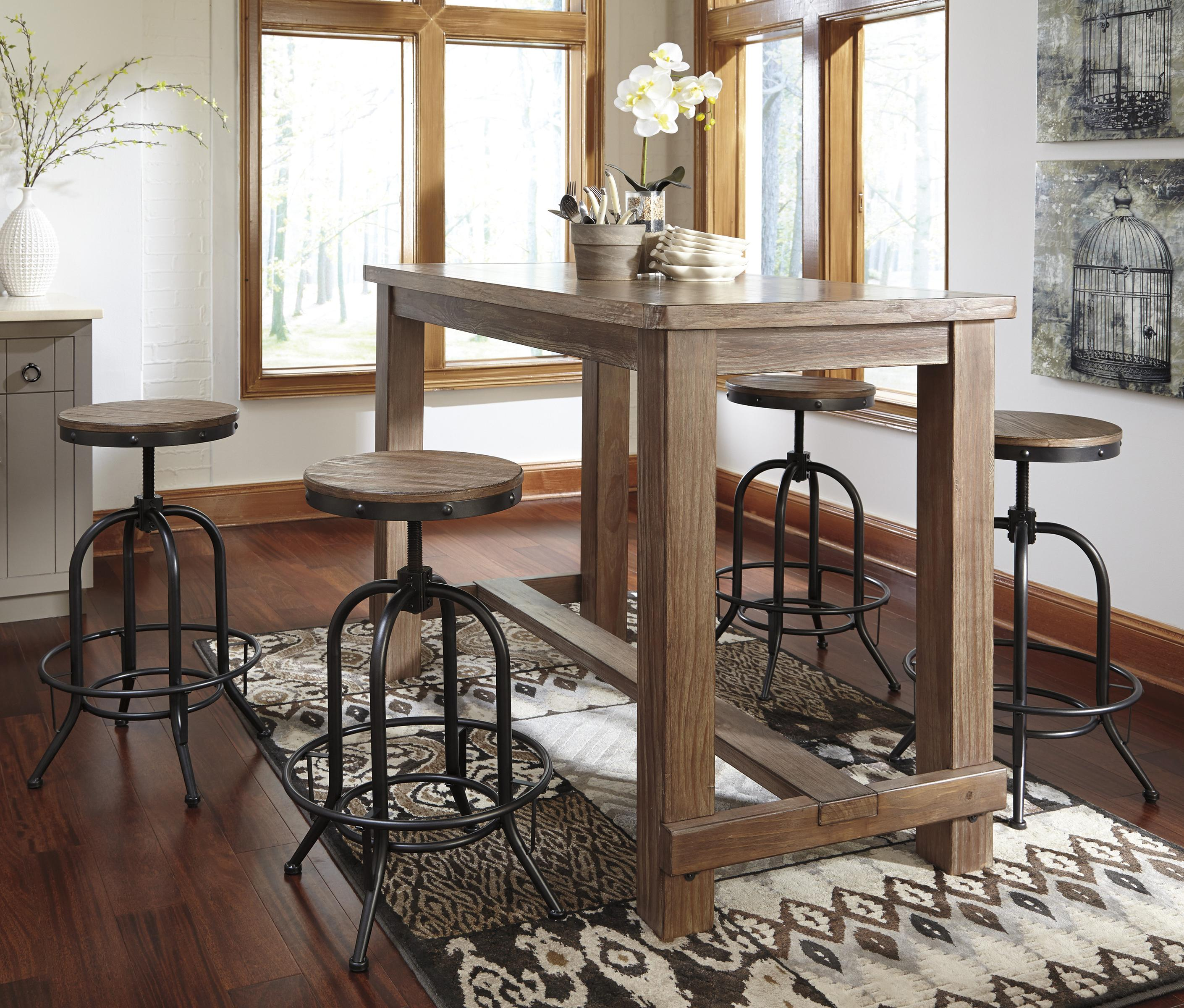 5 piece bar table set with industrial style adjustable for Table cuisine style bar