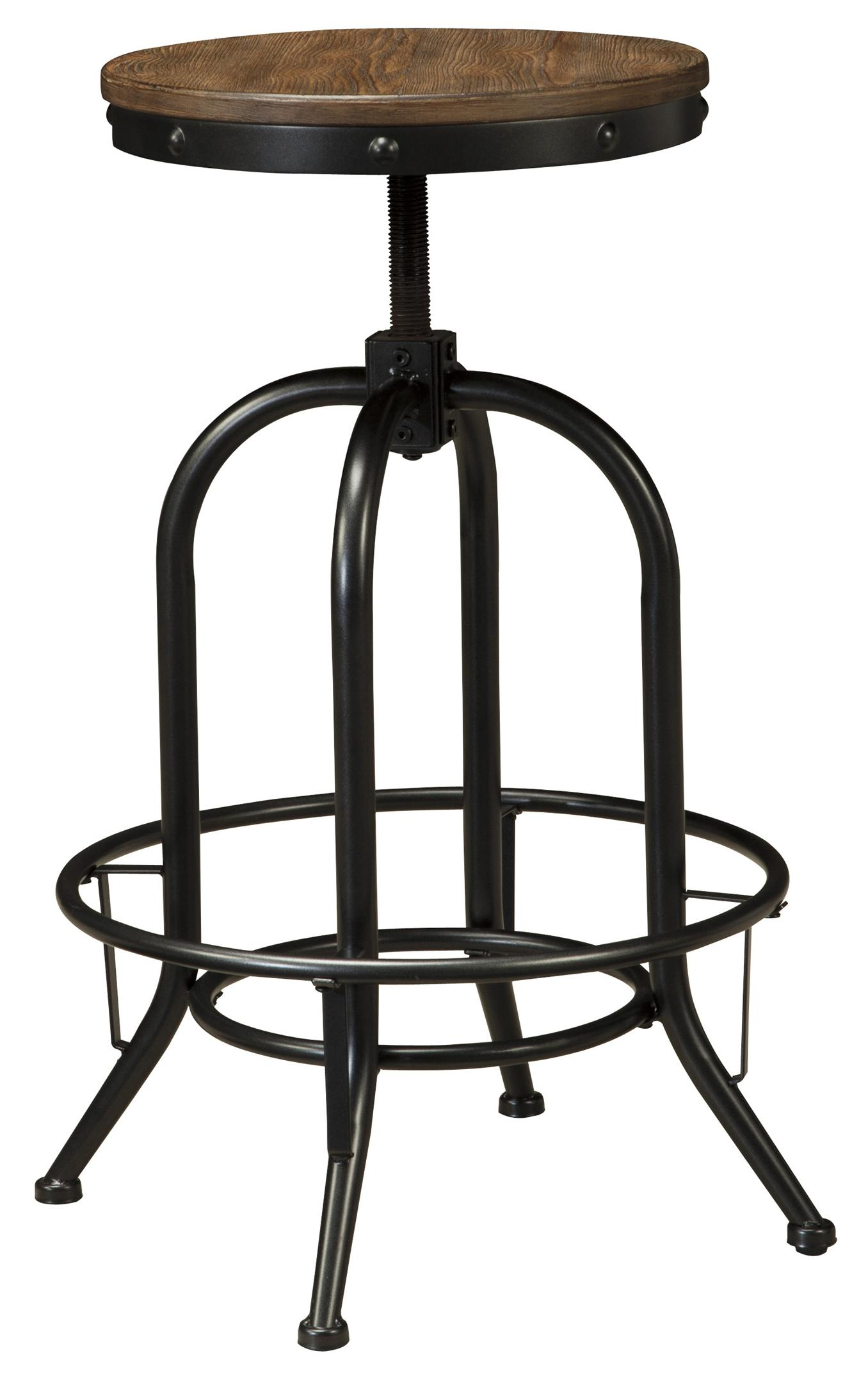 5 piece bar table set with industrial style adjustable for Table height stools