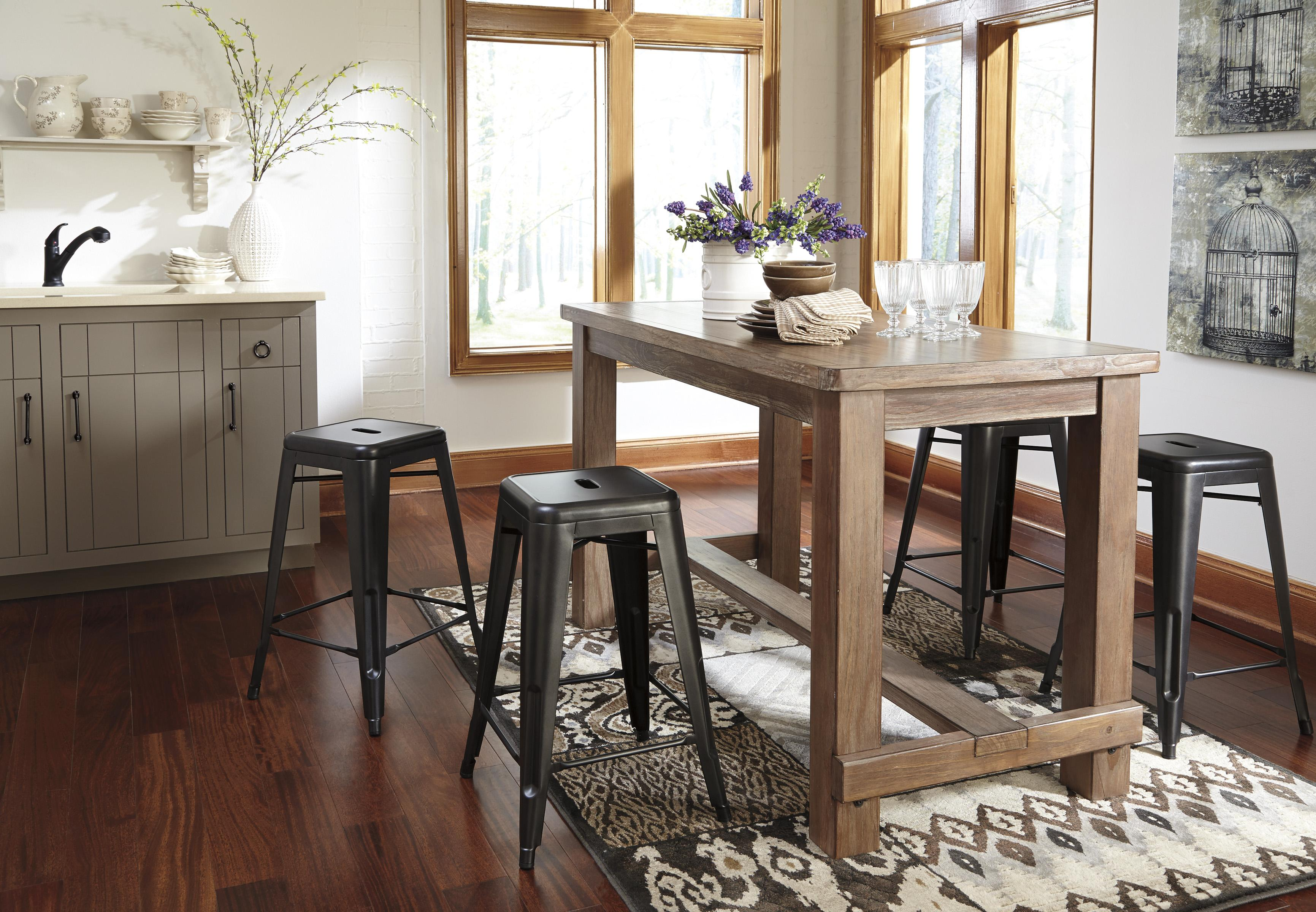rectangular pine veneer dining room counter table in wire brushed