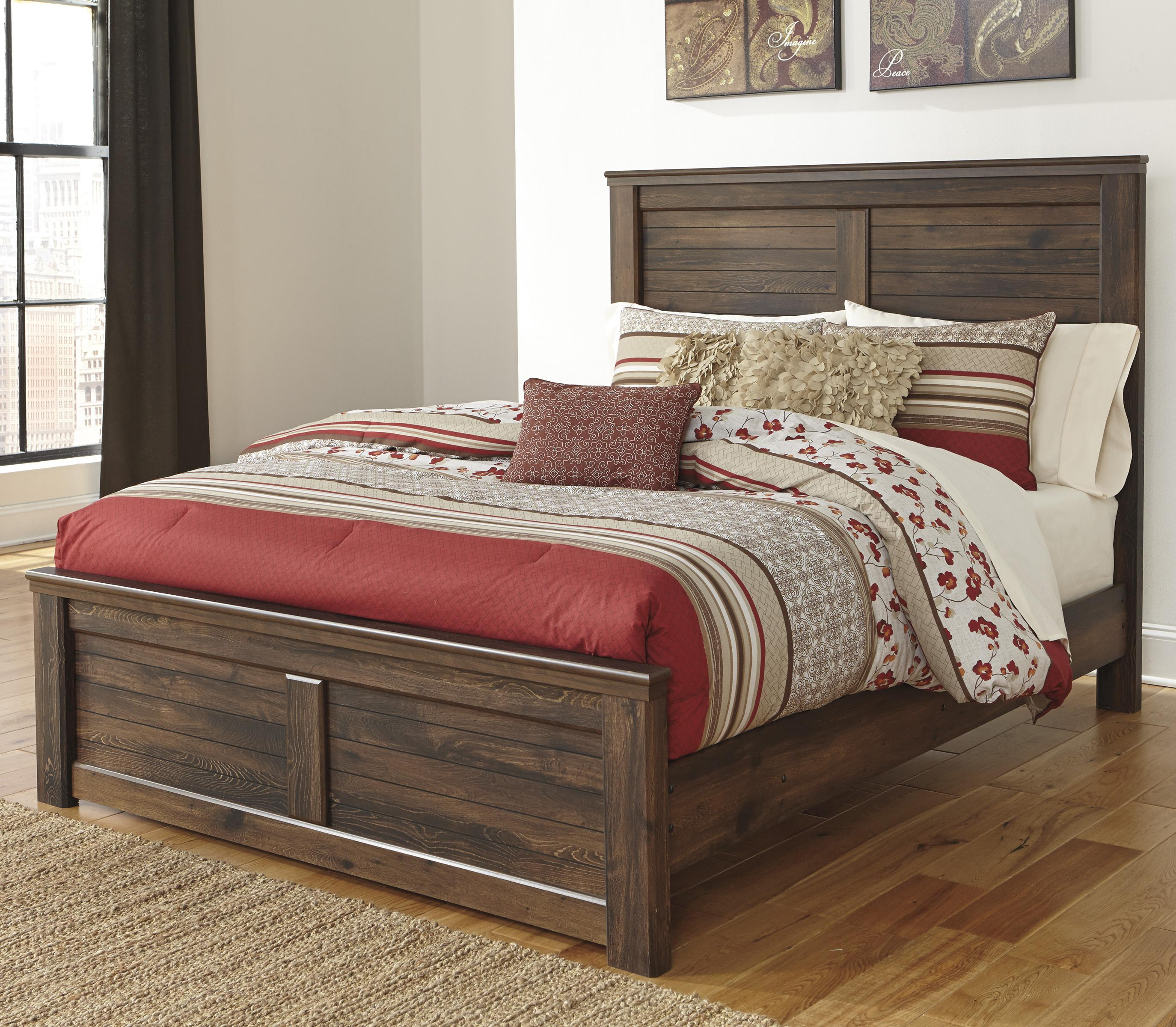 Queen panel bed with low profile footboard by signature for Queen footboard