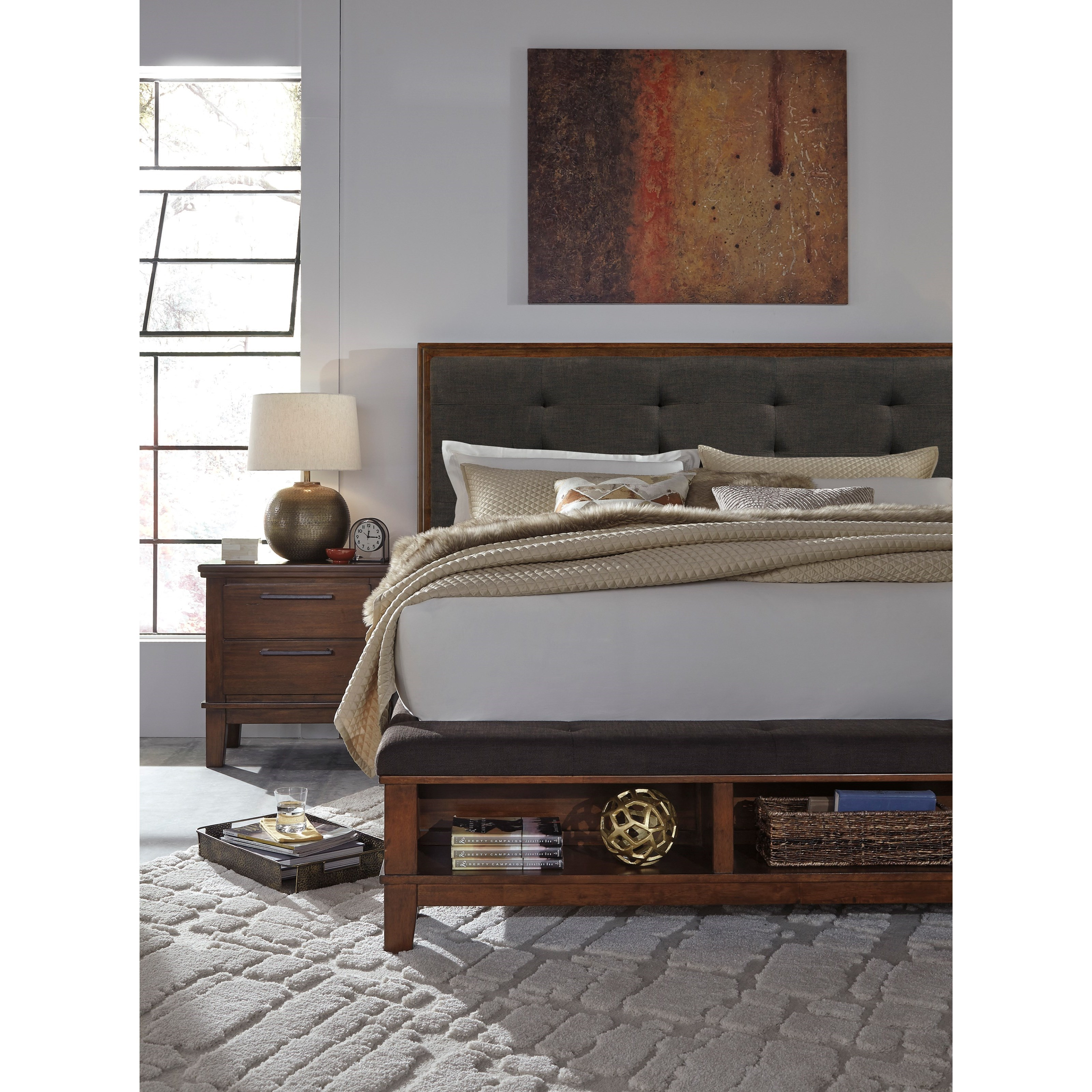 Queen upholstered bed with bench storage footboard by signature design by ashley wolf and for Bedroom benches king size bed