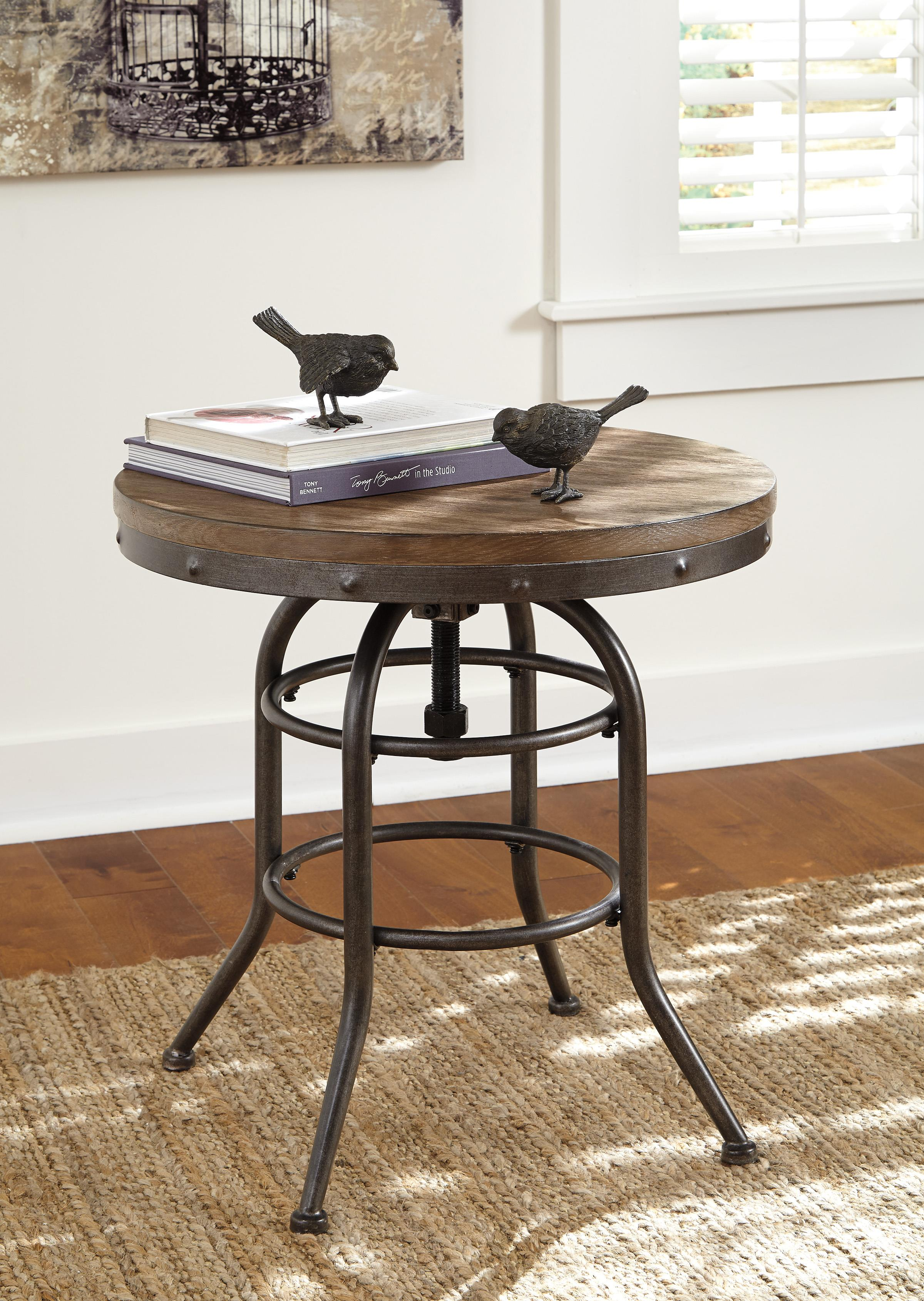 Industrial style round end table with adjustable height by