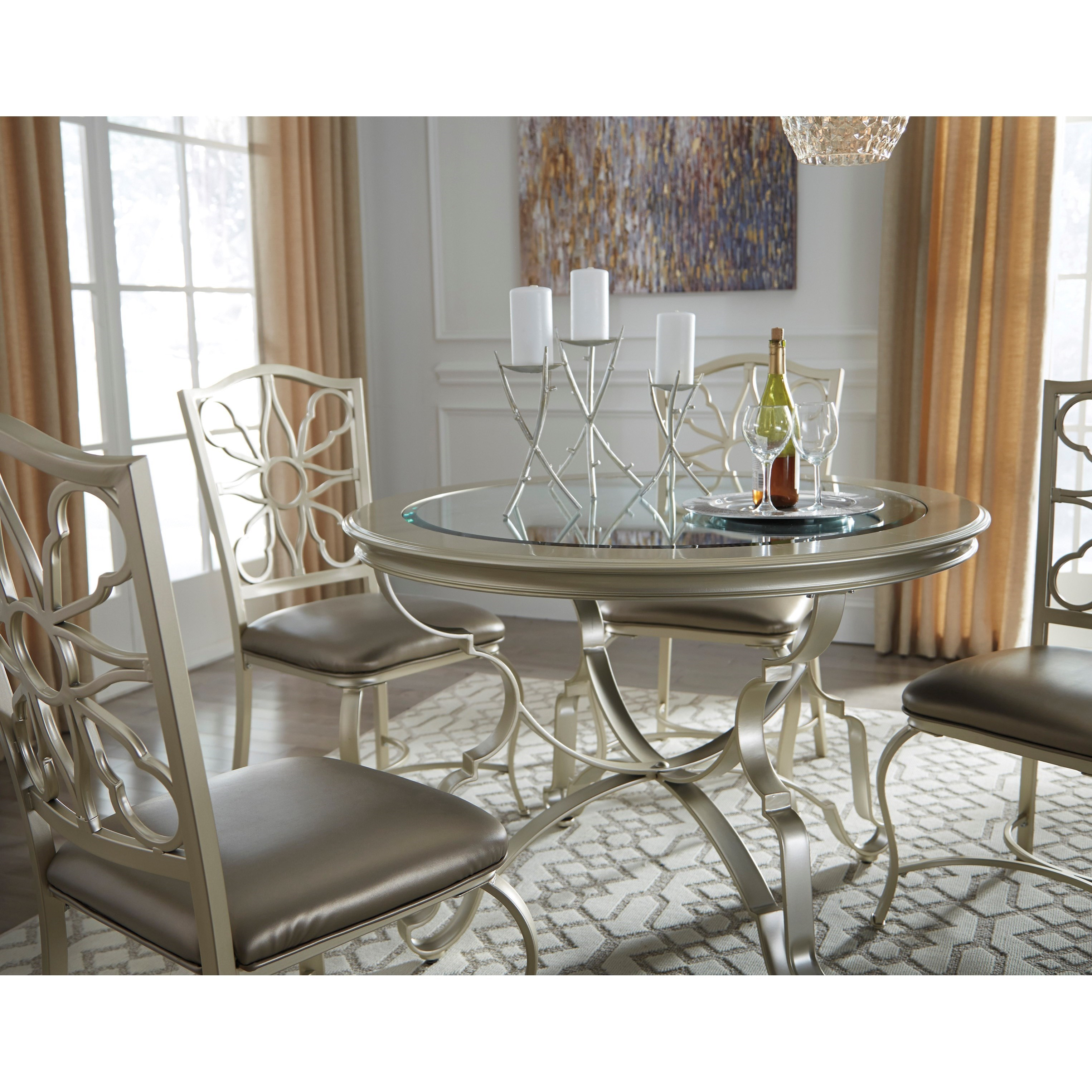 Silver finish round dining room table with inset glass top for Best dining room table finish