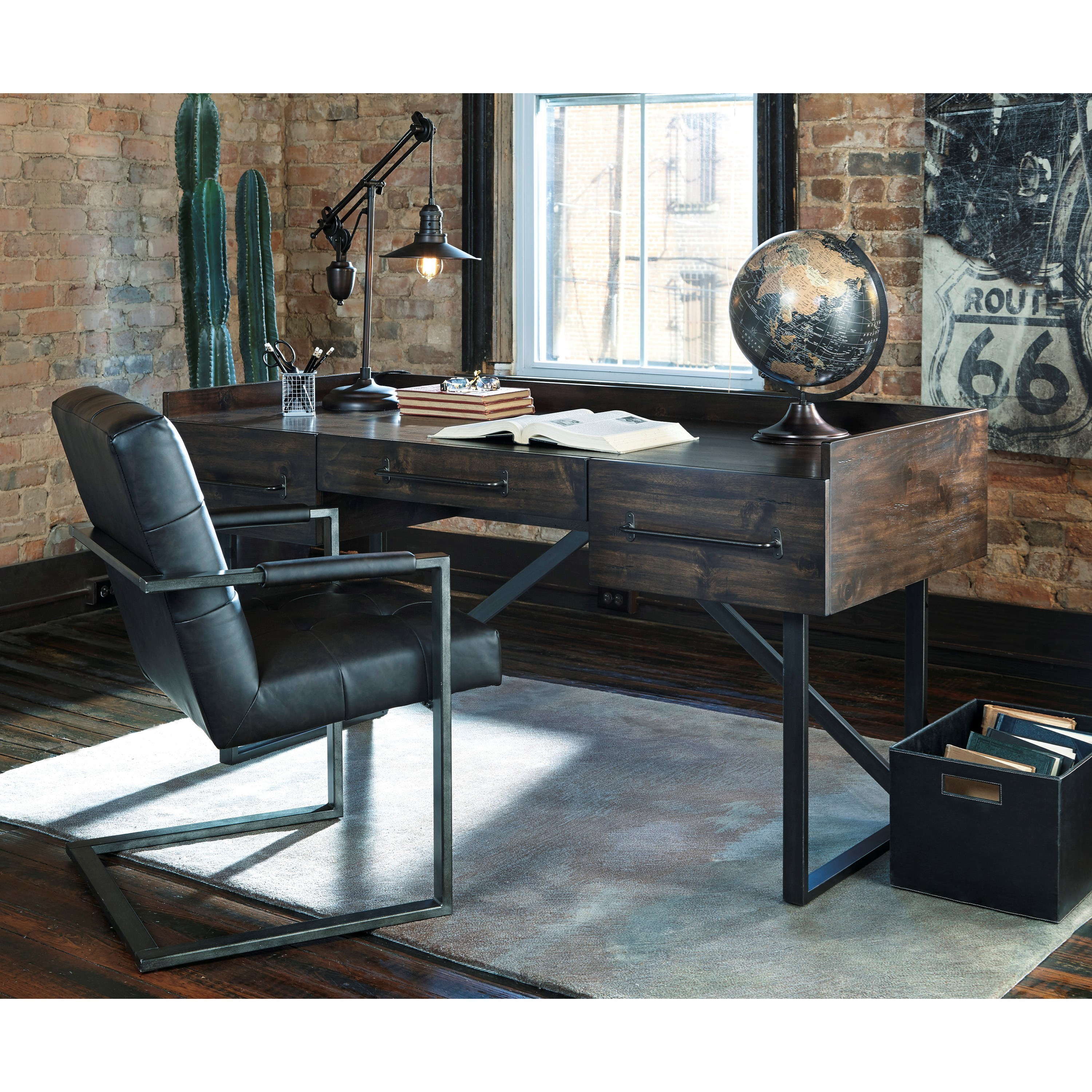Modern rustic industrial home office desk with steel base for Modern home office desk