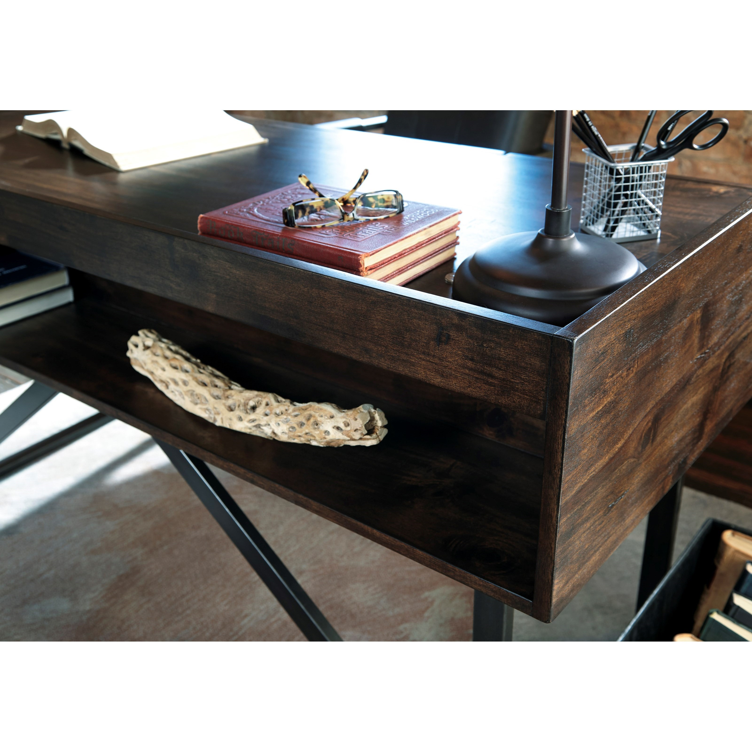 Modern Rustic Industrial Home Office Desk With Steel Base