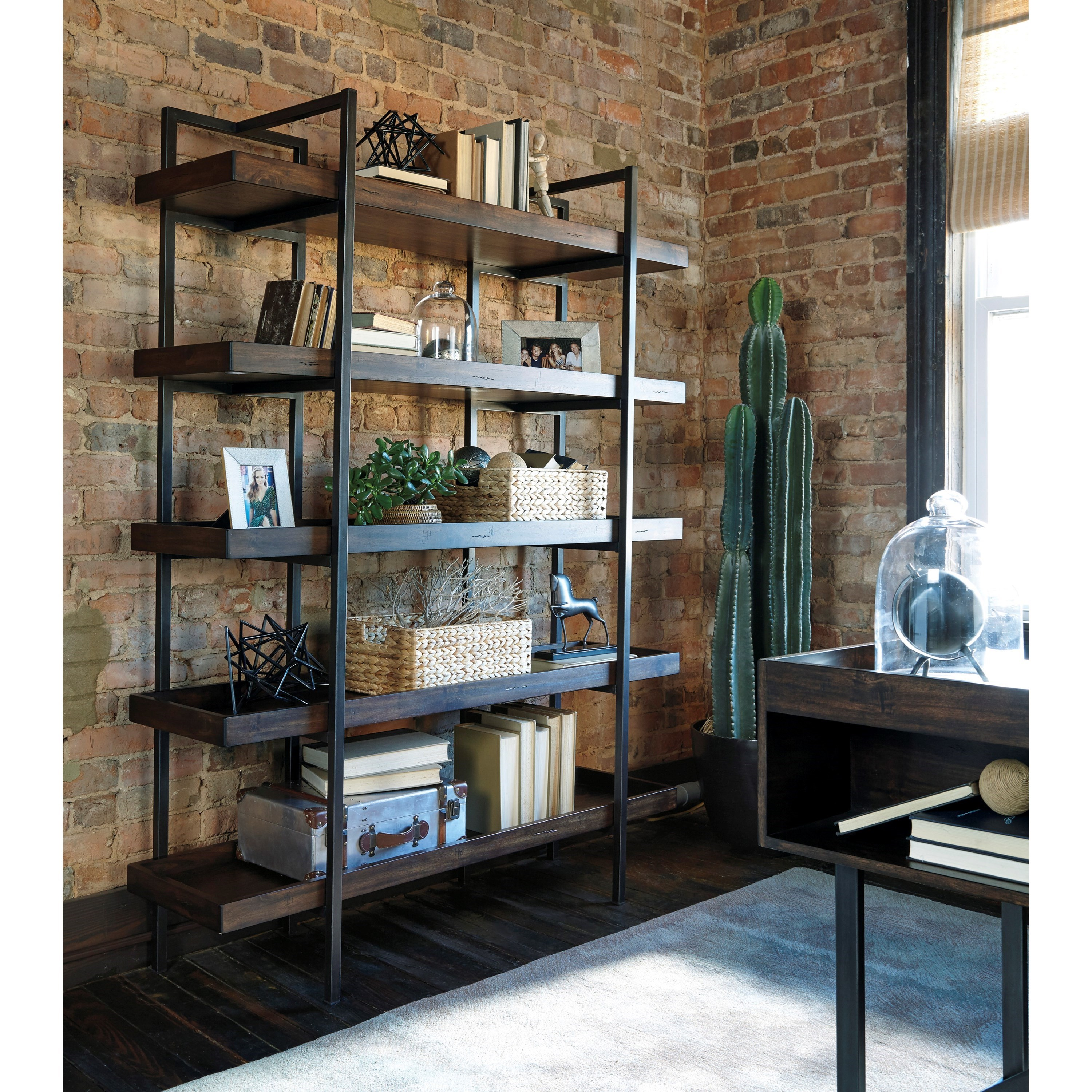 Modern Rustic Industrial Bookcase With 5 Shelves By