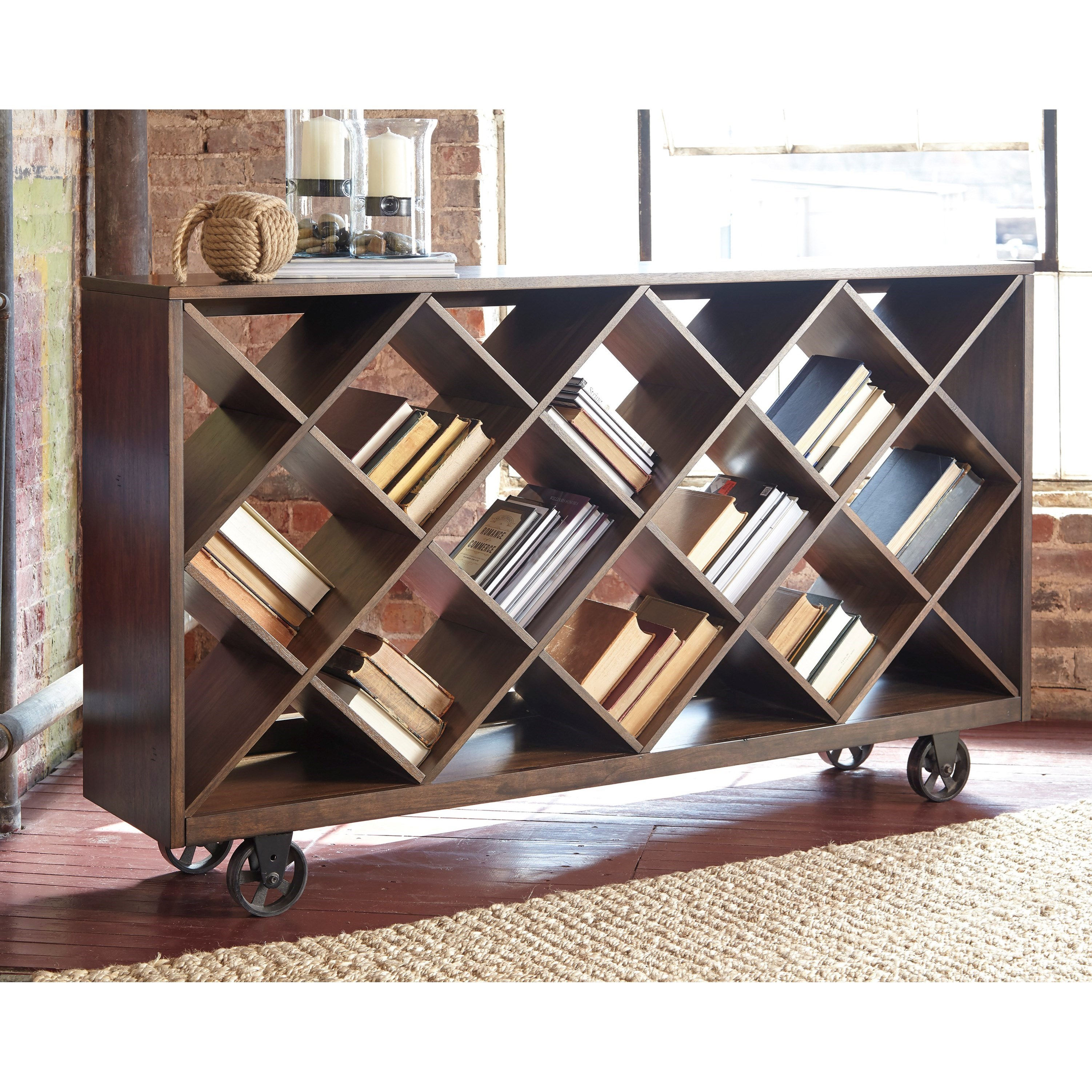 Shelf console table with angled open compartments for Wine and design west ashley