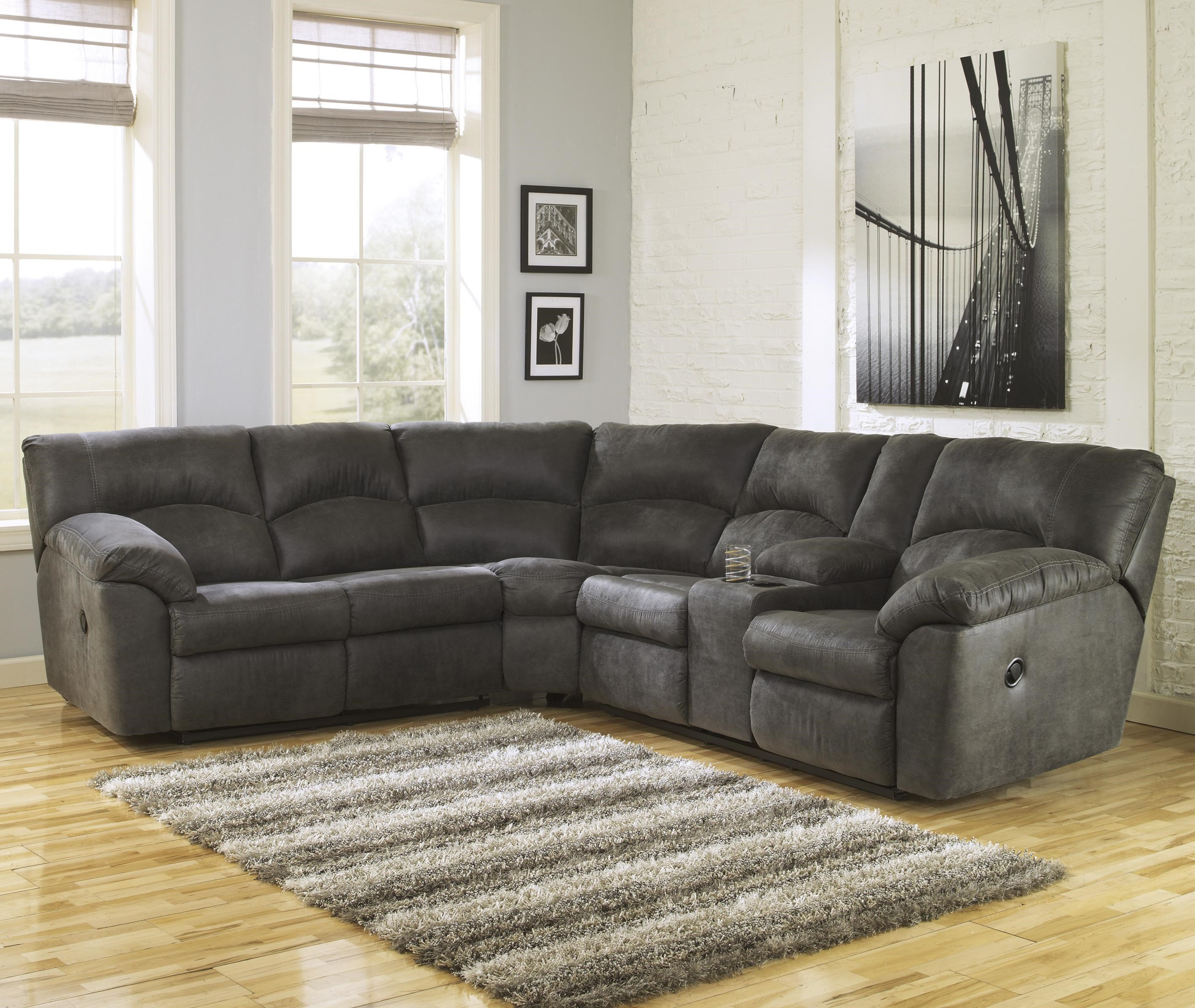 Sectional Sofa Sale Houston: 2-Piece Reclining Corner Sectional With Center Console By