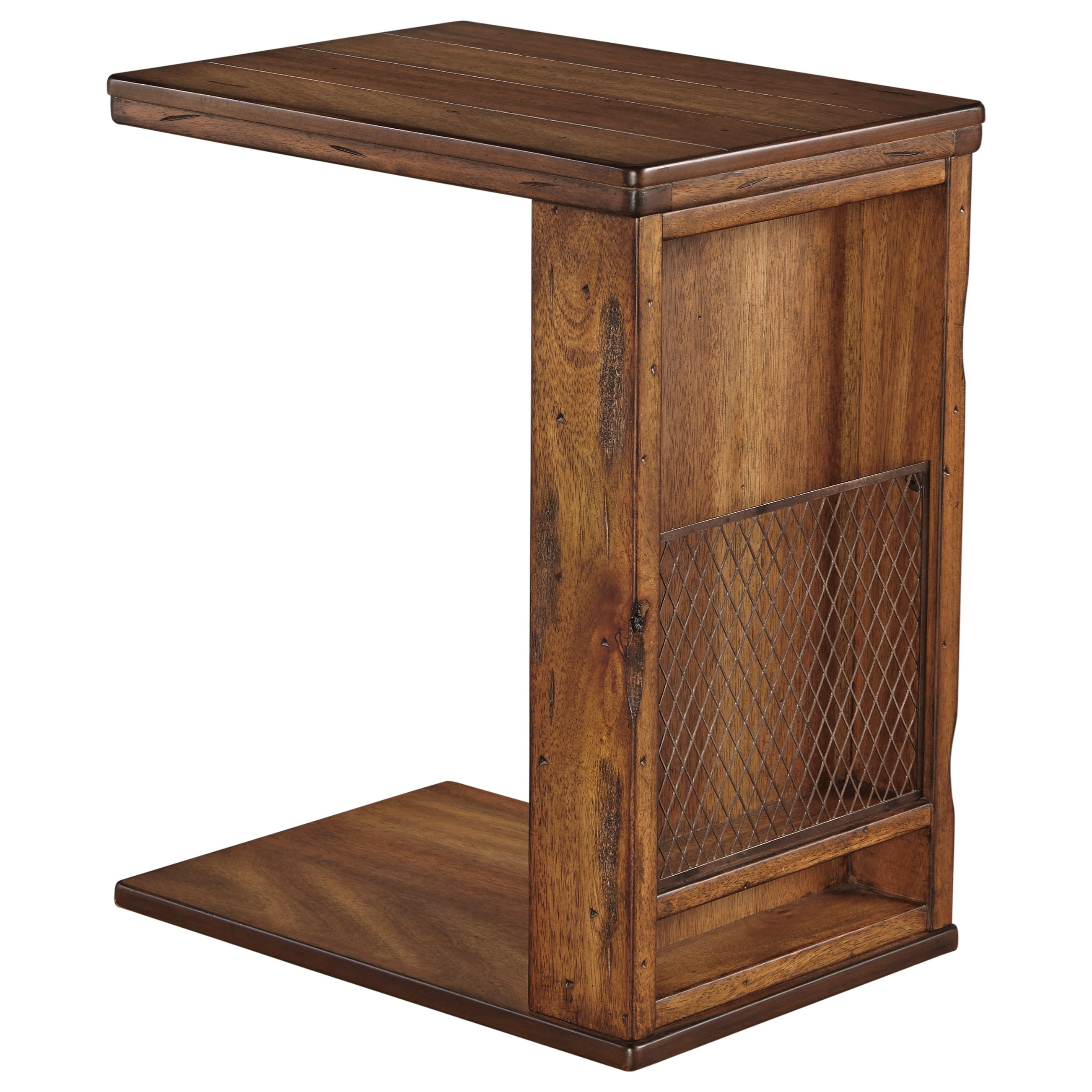 Rustic c shape chair side end table with wire mesh by