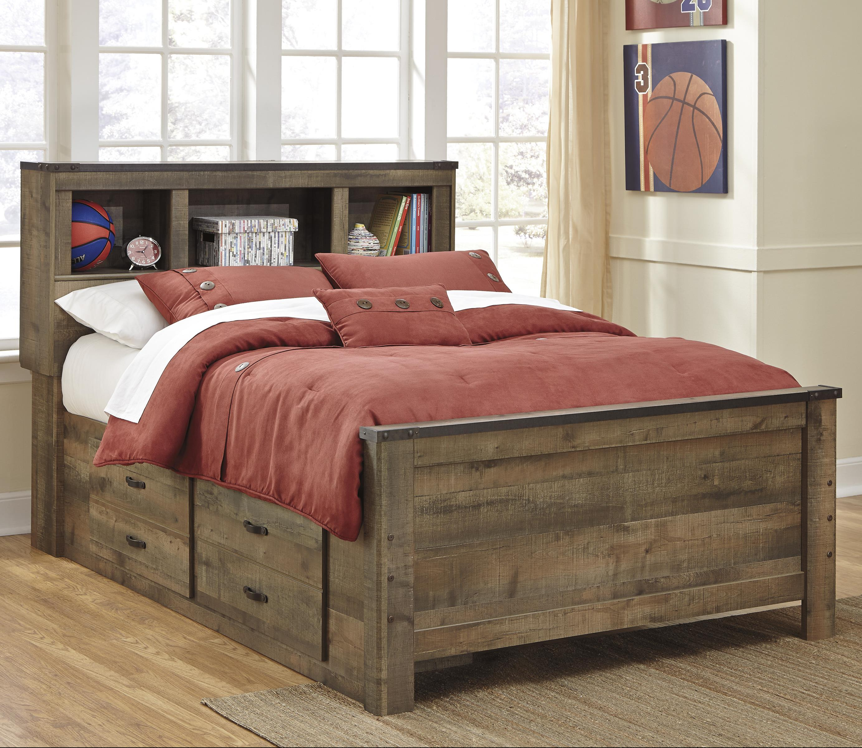 rustic look full bookcase bed with under bed storage by signature design by ashley wolf and. Black Bedroom Furniture Sets. Home Design Ideas