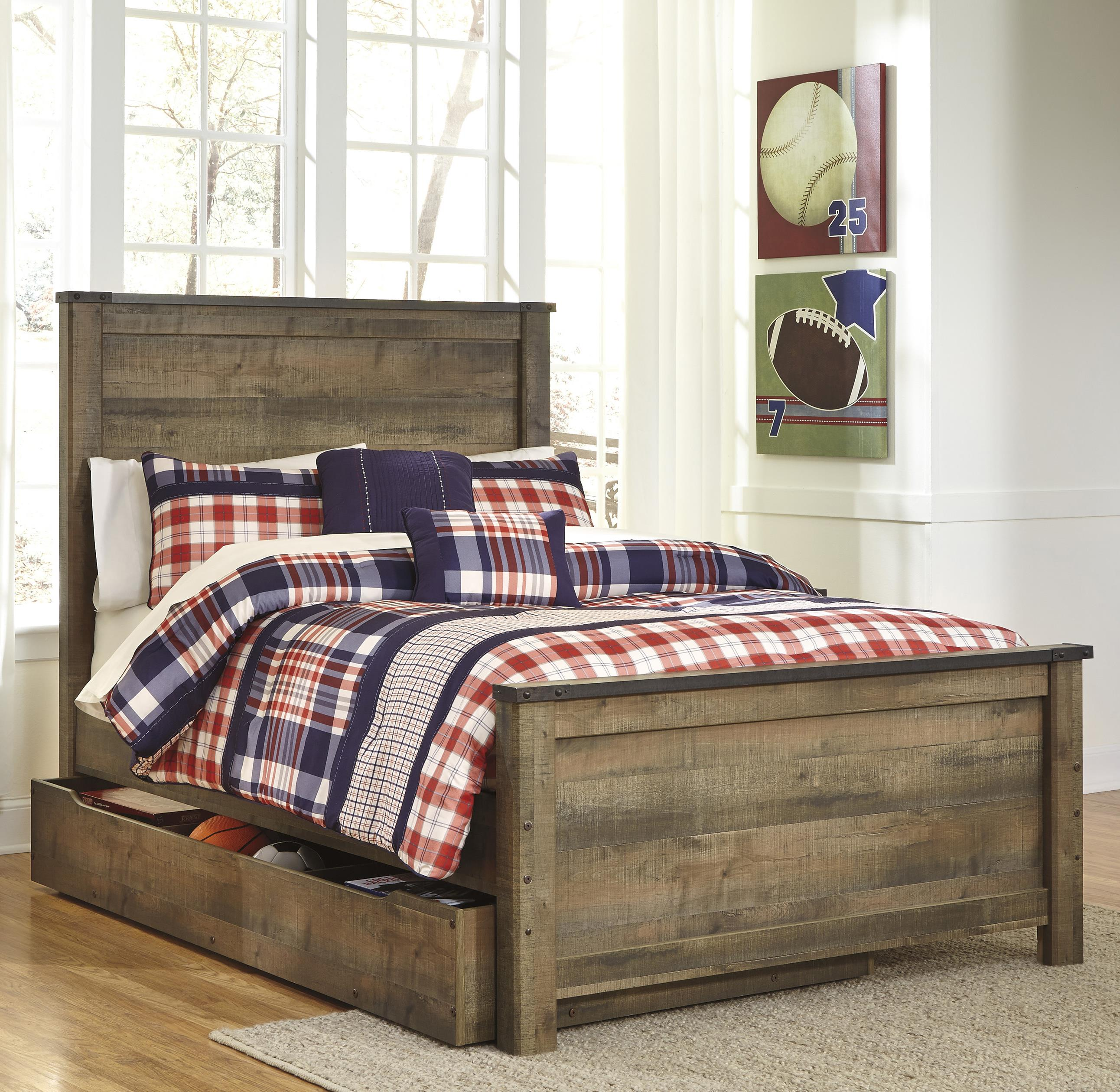 rustic look full panel bed with under bed storage trundle by signature design by ashley wolf. Black Bedroom Furniture Sets. Home Design Ideas