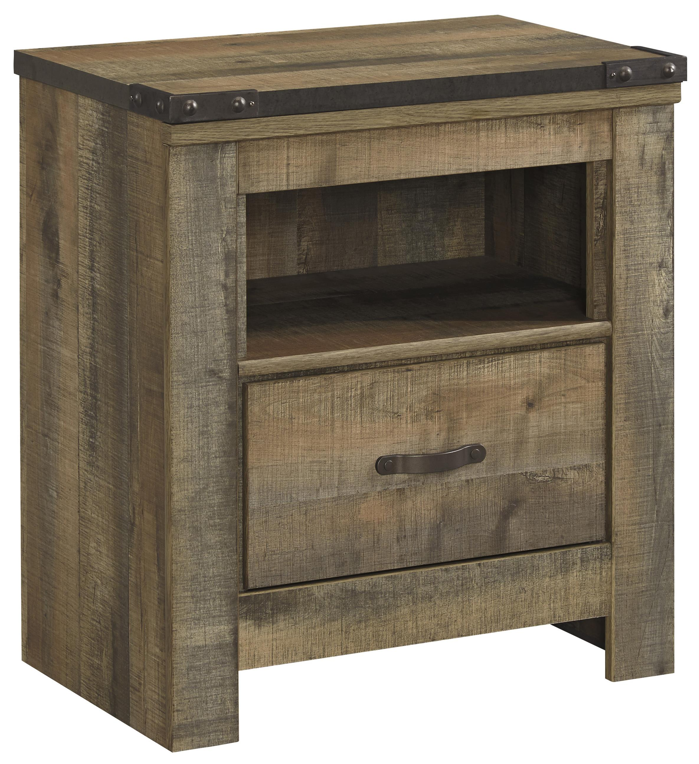 rustic look one drawer night stand with usb chargers by. Black Bedroom Furniture Sets. Home Design Ideas