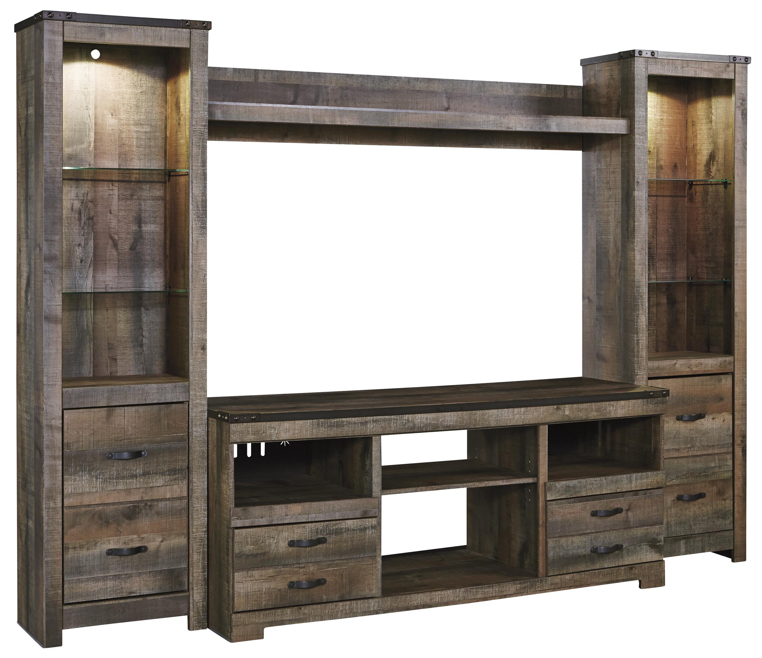 rustic large tv stand 2 tall piers w bridge by signature design by ashley wolf and gardiner. Black Bedroom Furniture Sets. Home Design Ideas