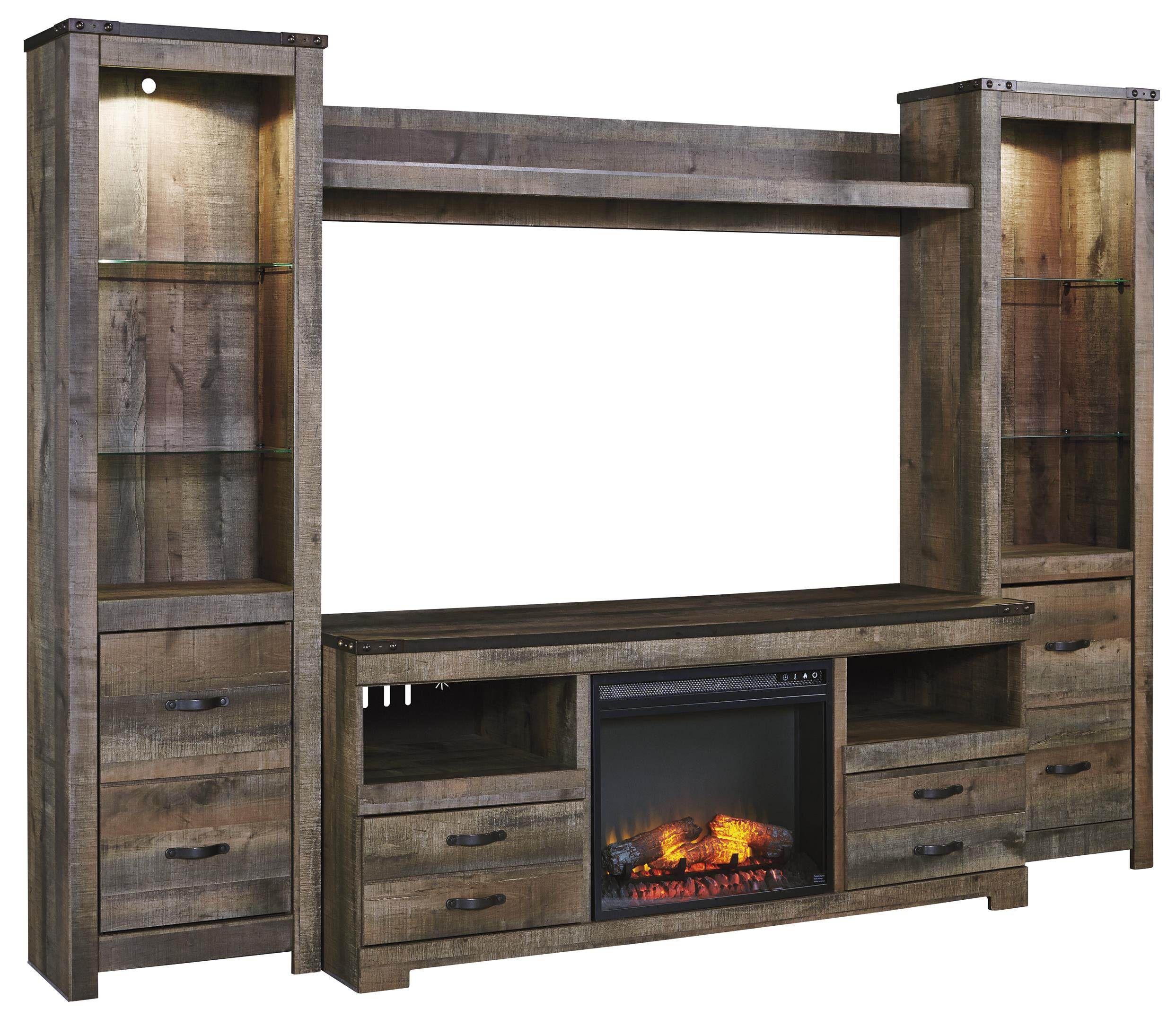 rustic large tv stand w fireplace insert 2 tall piers bridge by signature design by ashley. Black Bedroom Furniture Sets. Home Design Ideas