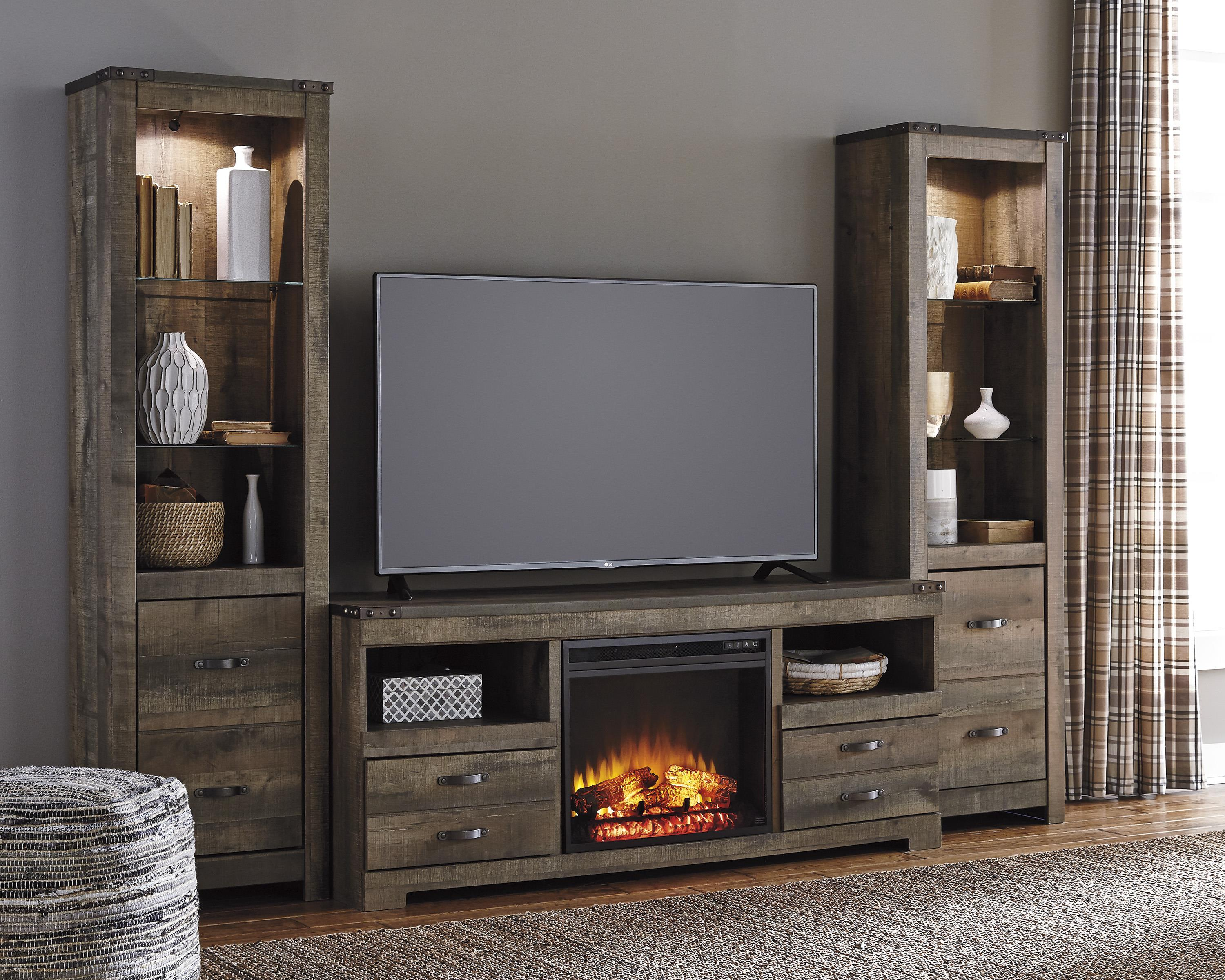 Rustic Large Tv Stand W Fireplace Insert Amp 2 Tall Piers