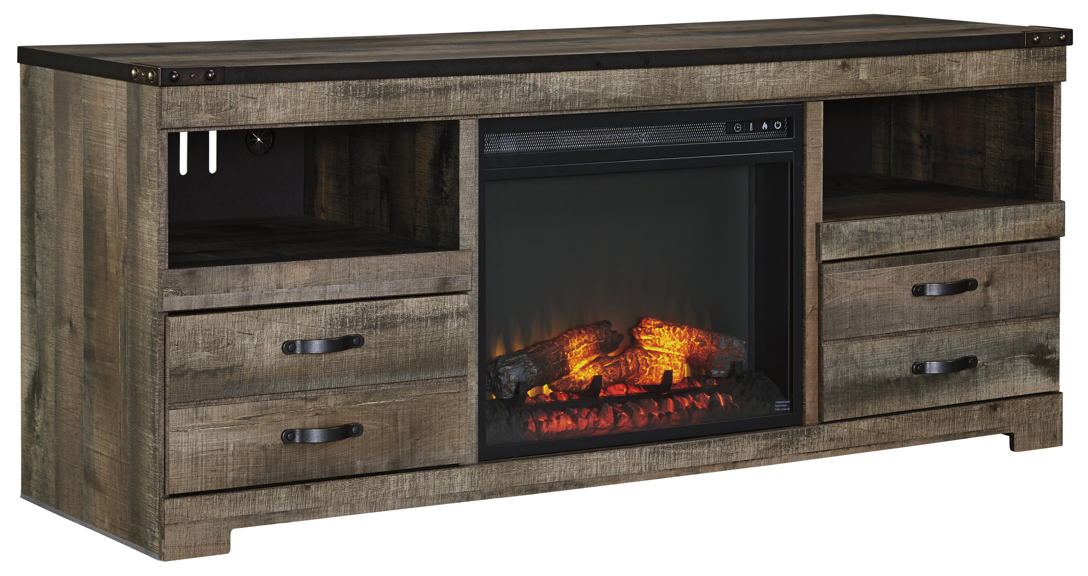 rustic large tv stand with fireplace insert by signature design by ashley wolf and gardiner. Black Bedroom Furniture Sets. Home Design Ideas