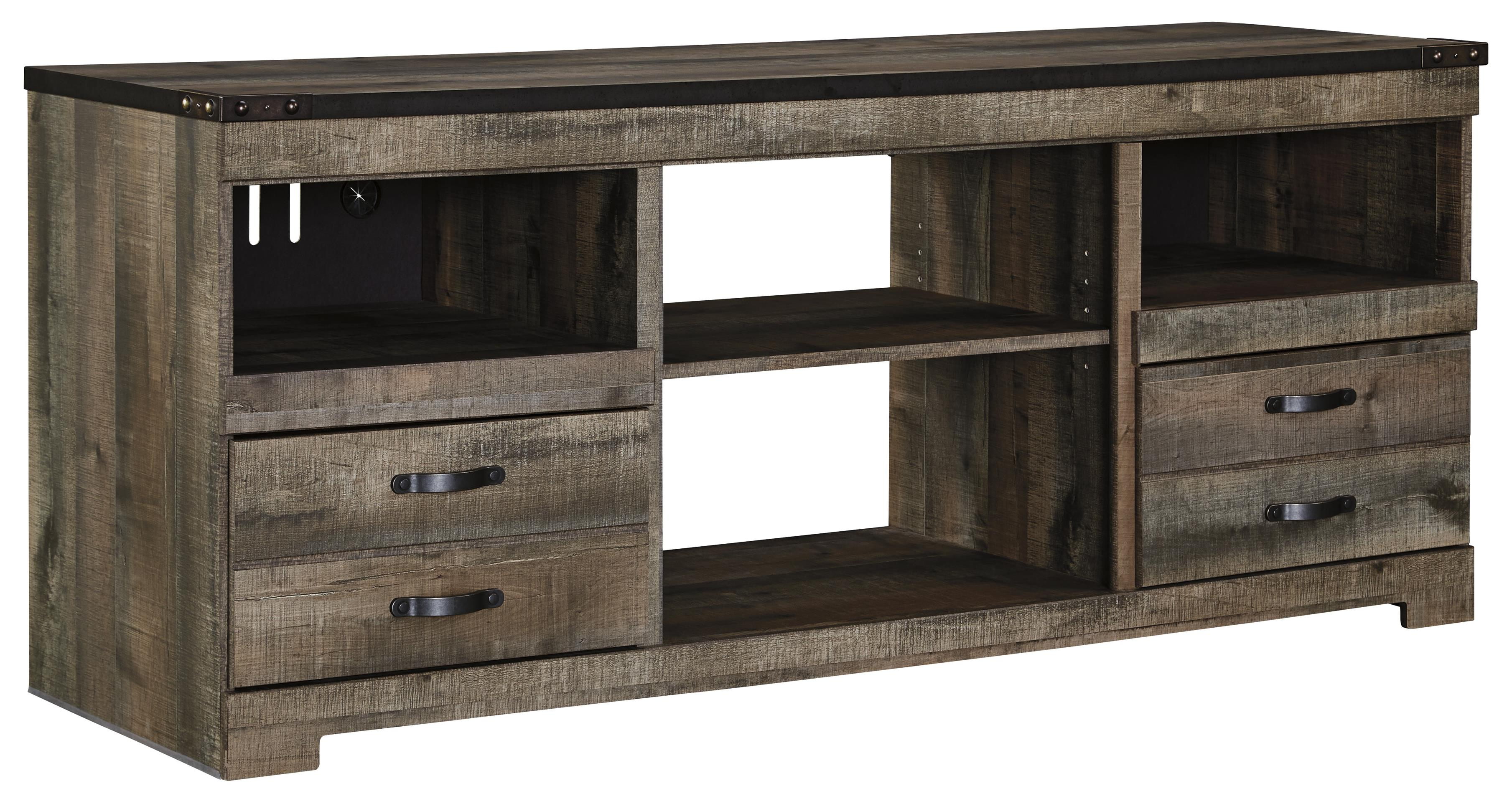 rustic large tv stand with metal rivet detail by signature design by ashley wolf and gardiner. Black Bedroom Furniture Sets. Home Design Ideas
