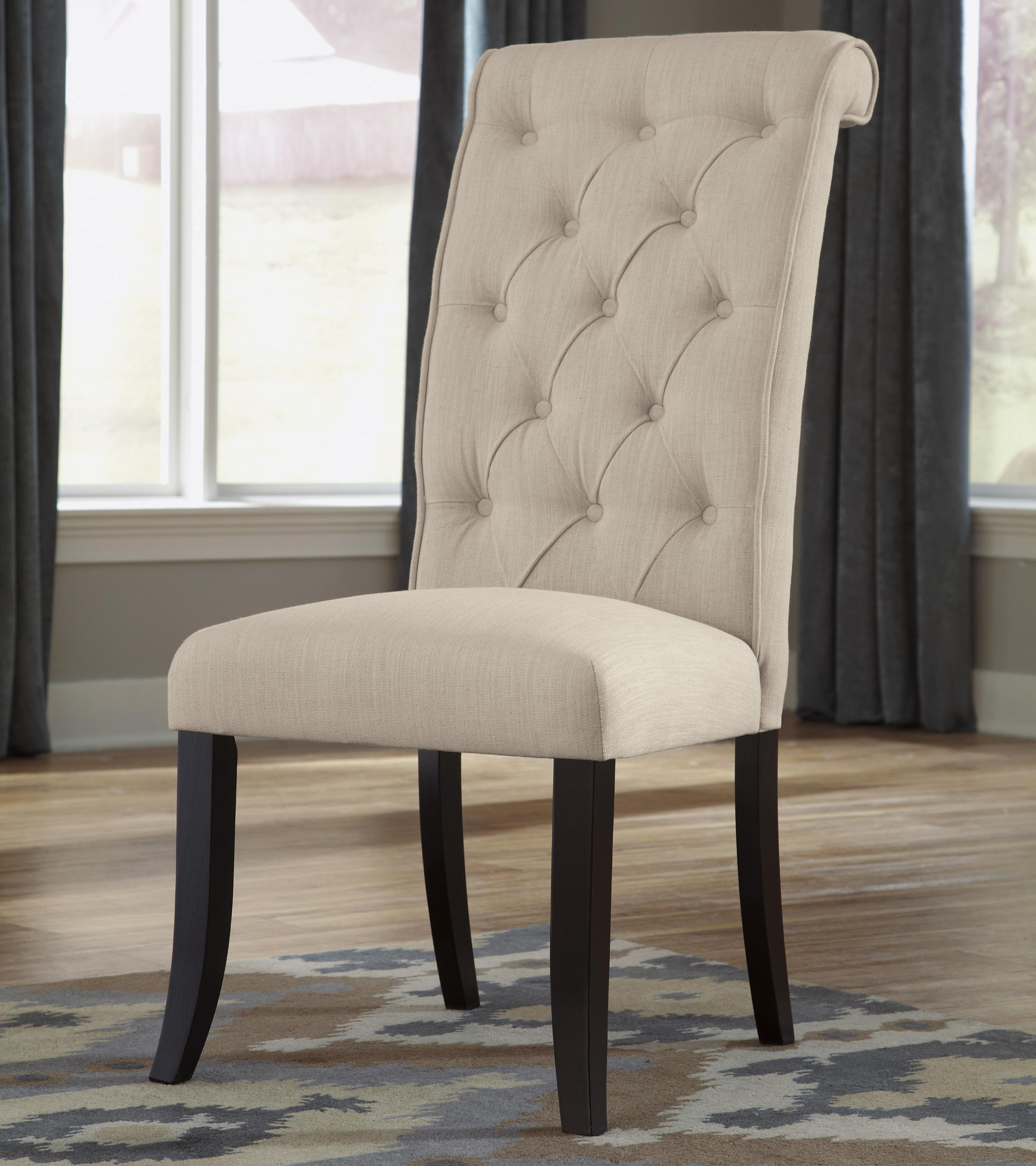 Dining upholstered side chair with button tufting and roll for Colorful leather dining chairs