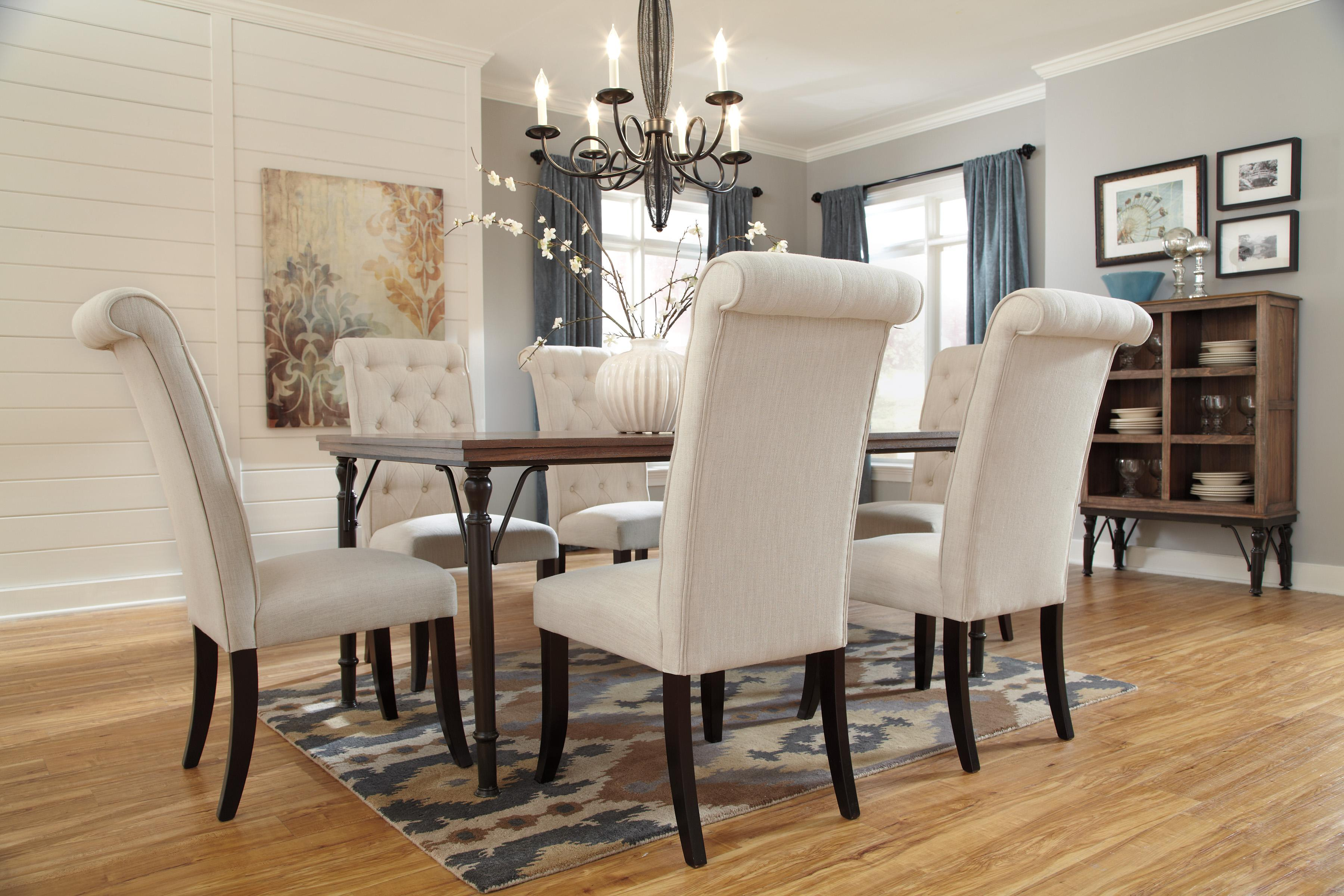 Dining upholstered side chair with button tufting and roll for Upholstered dining room side chairs