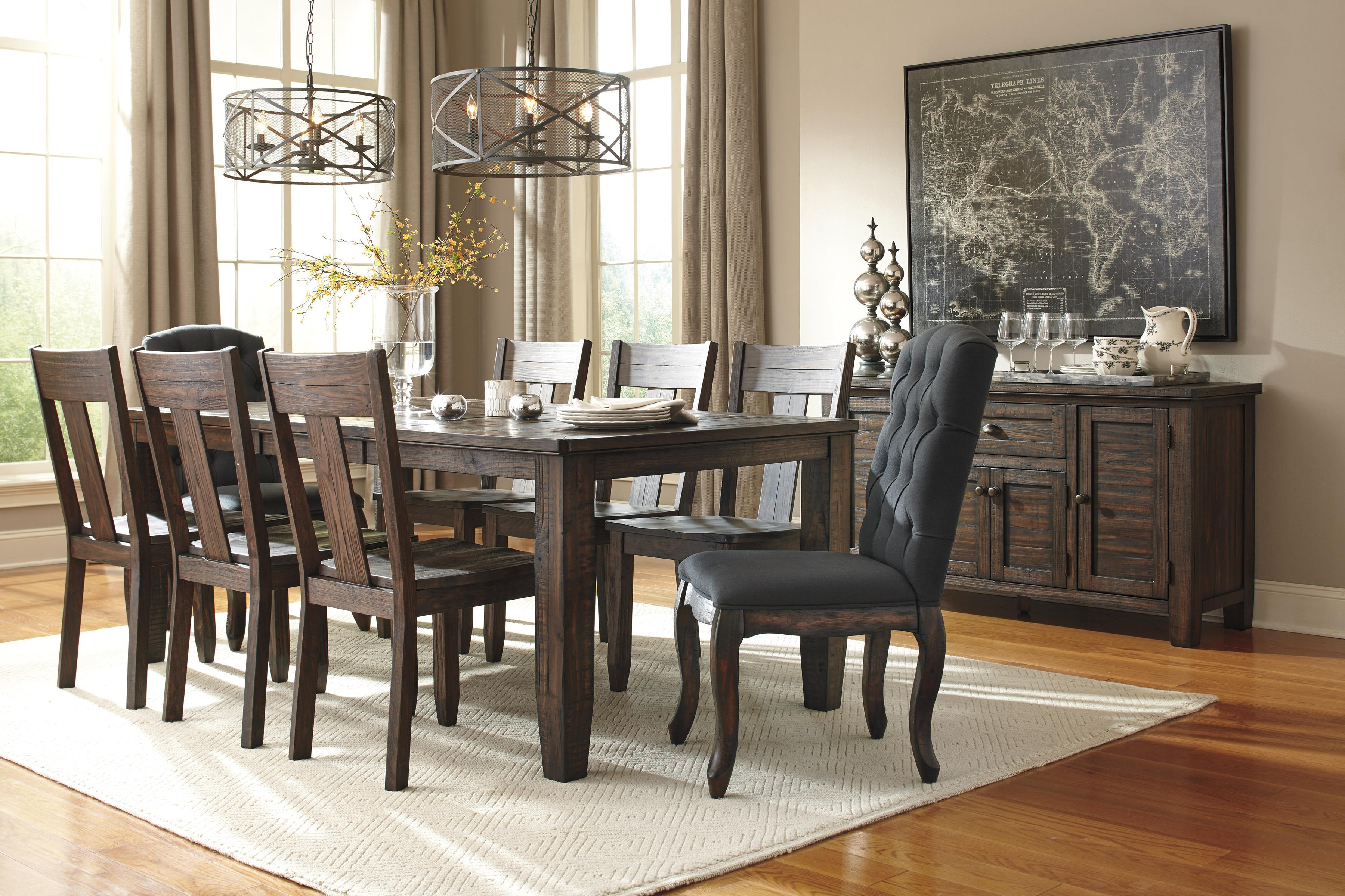 9 Piece Rectangular Dining Table Set with Upholstered