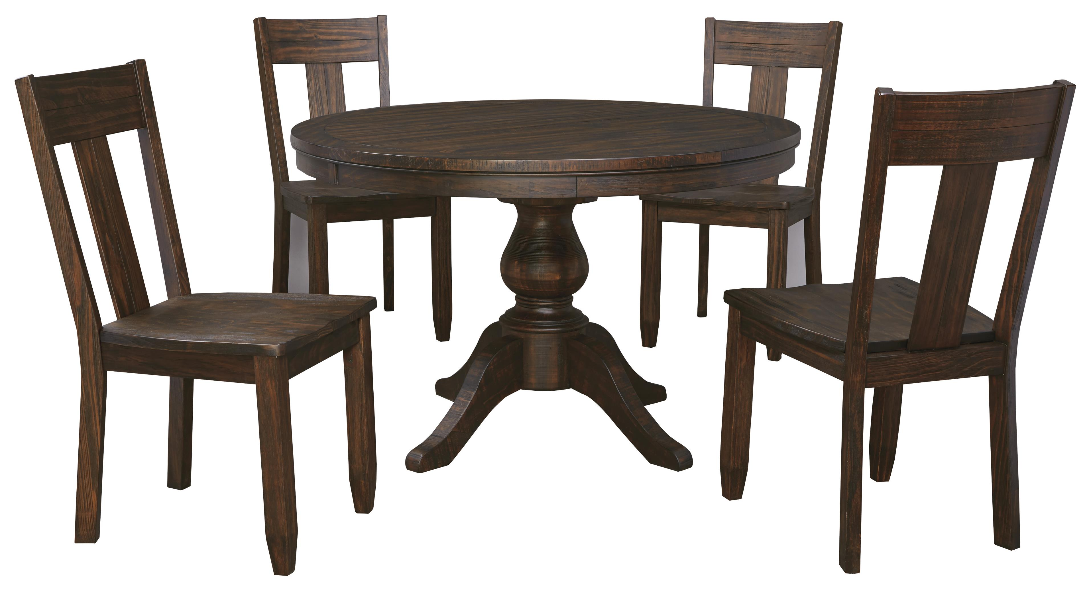 5 piece round dining table set with wood seat side chairs for Round dining table set