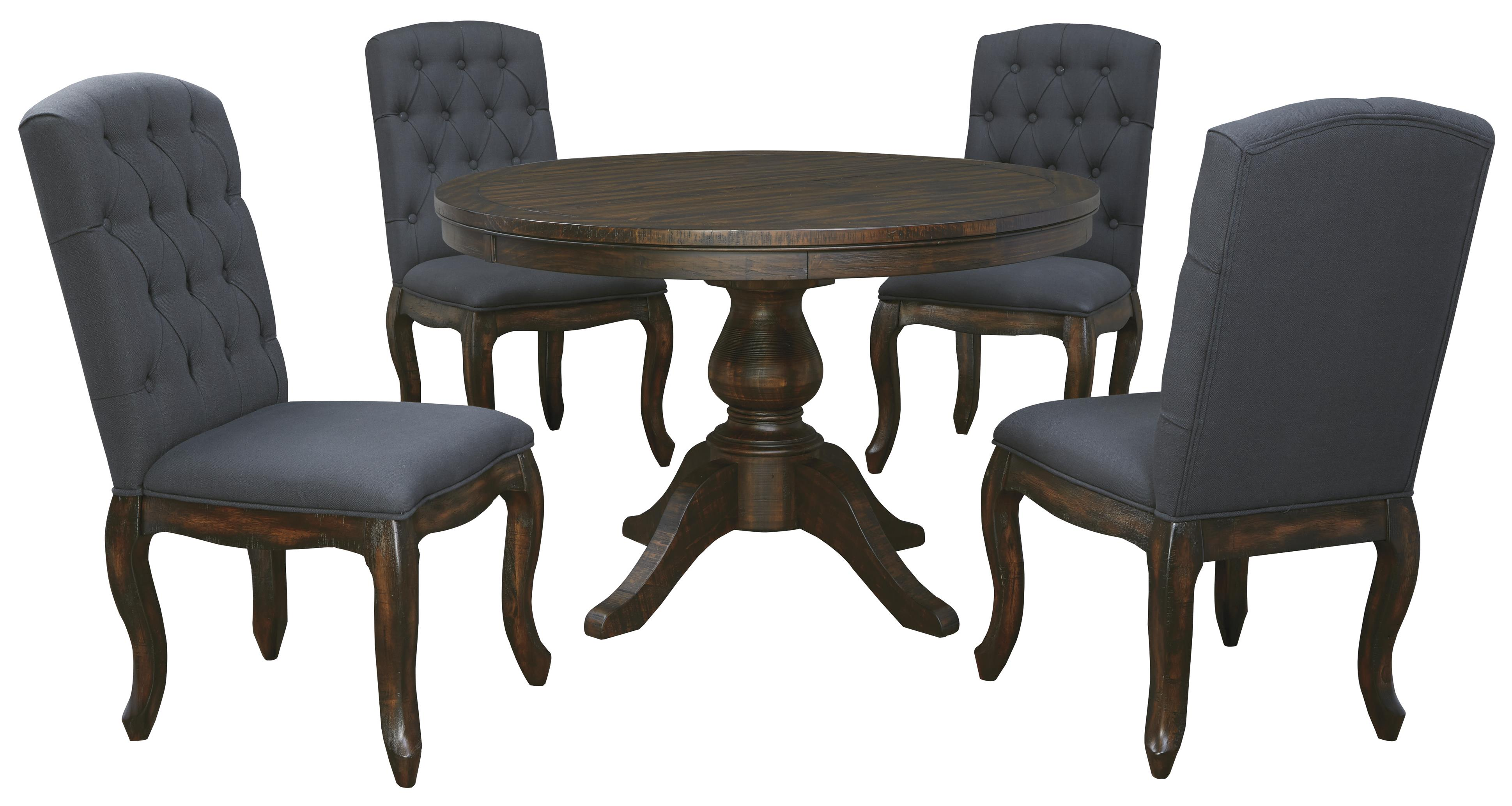 5 piece round dining table set with upholstered side for Round dining table set