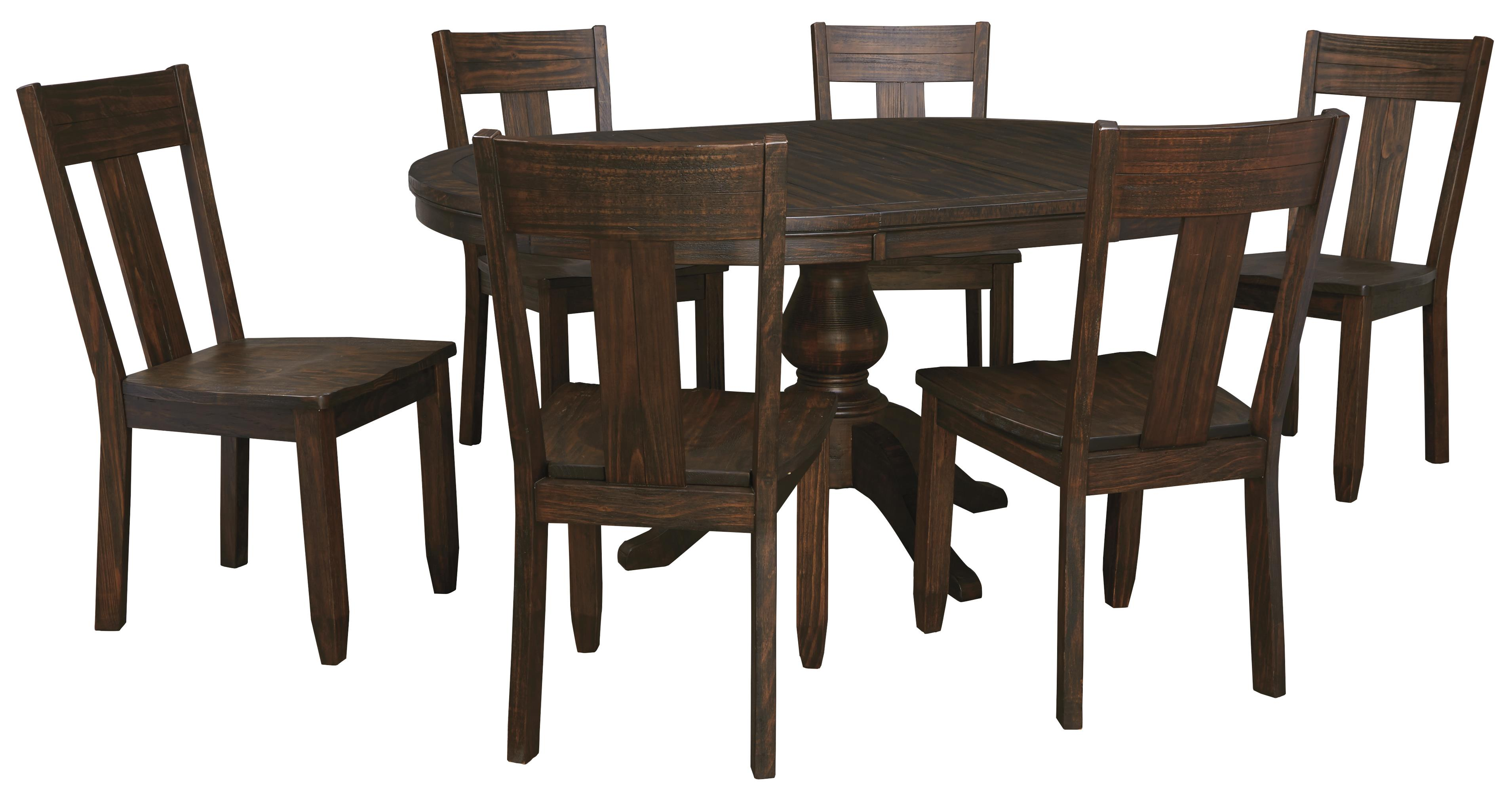 7 Piece Oval Dining Table Set With Wood Seat Side Chairs