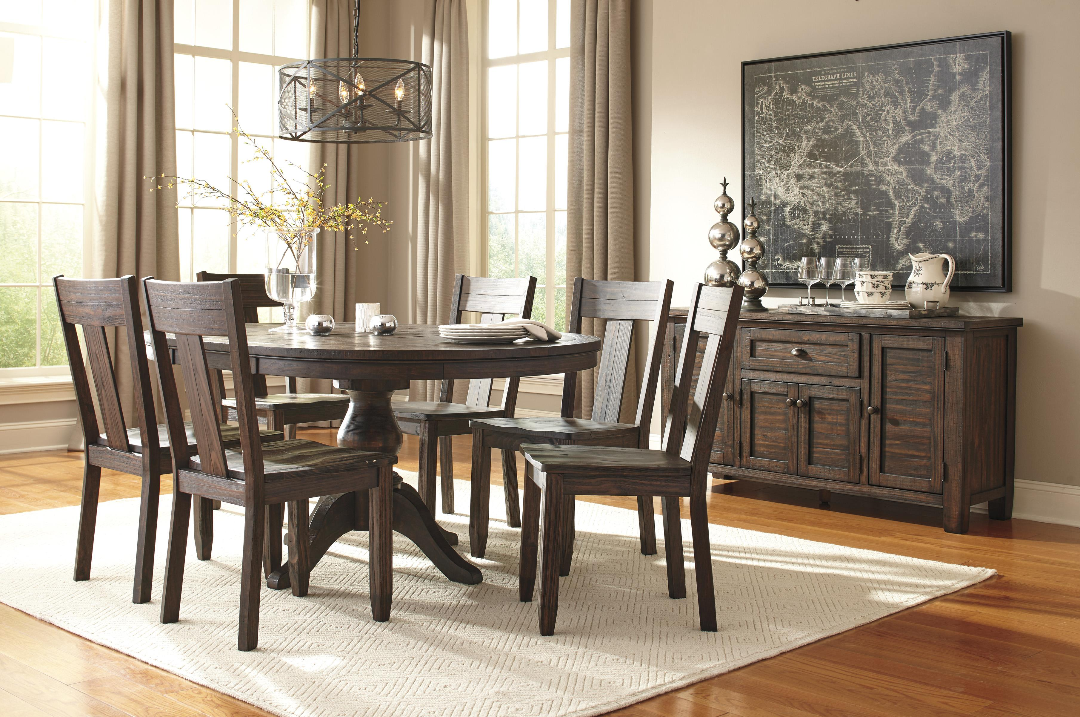 7 piece oval dining table set with wood seat side chairs by signature design by ashley wolf. Black Bedroom Furniture Sets. Home Design Ideas