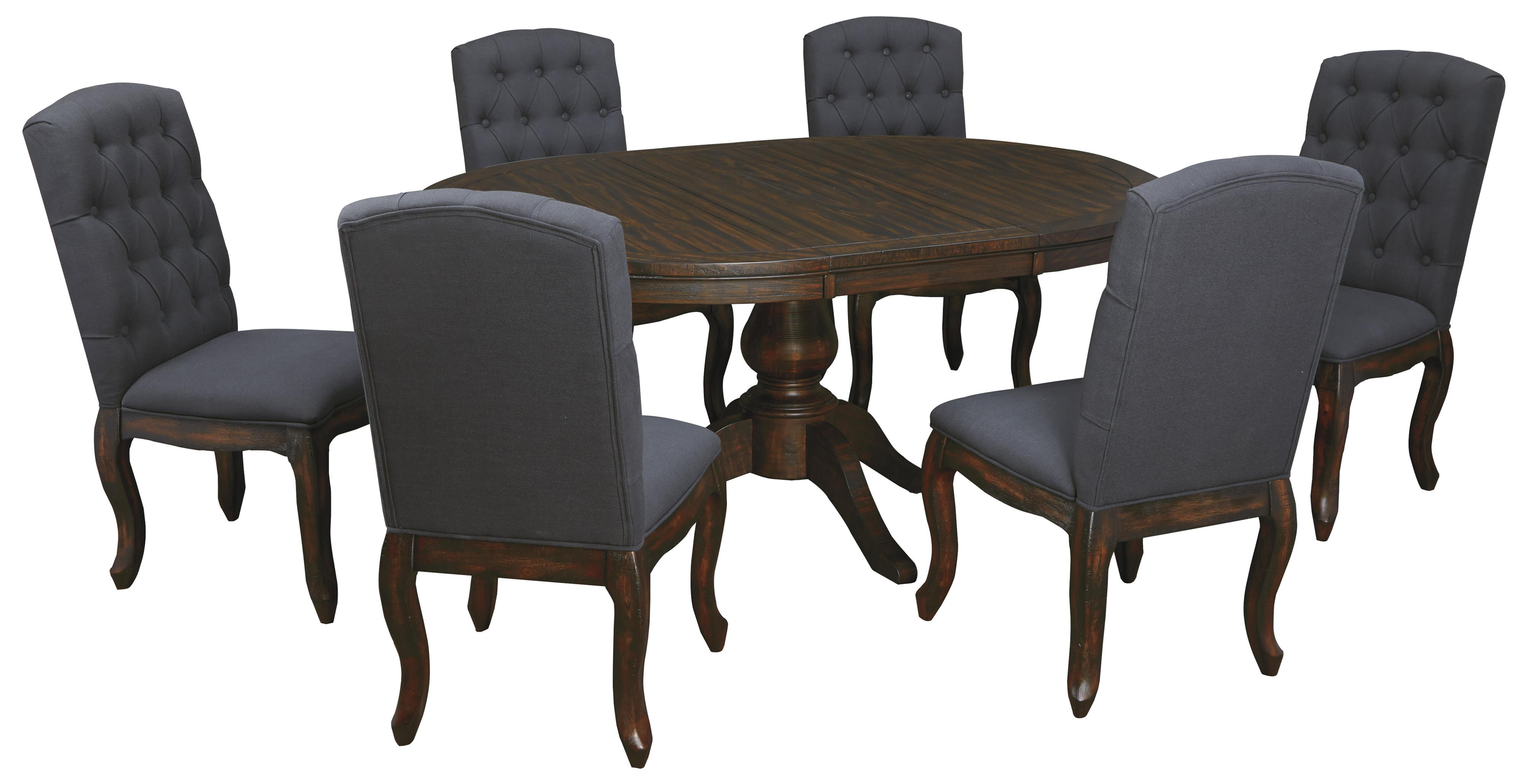 7 piece oval dining table set with upholstered side chairs for Decor 7 piece lunch set