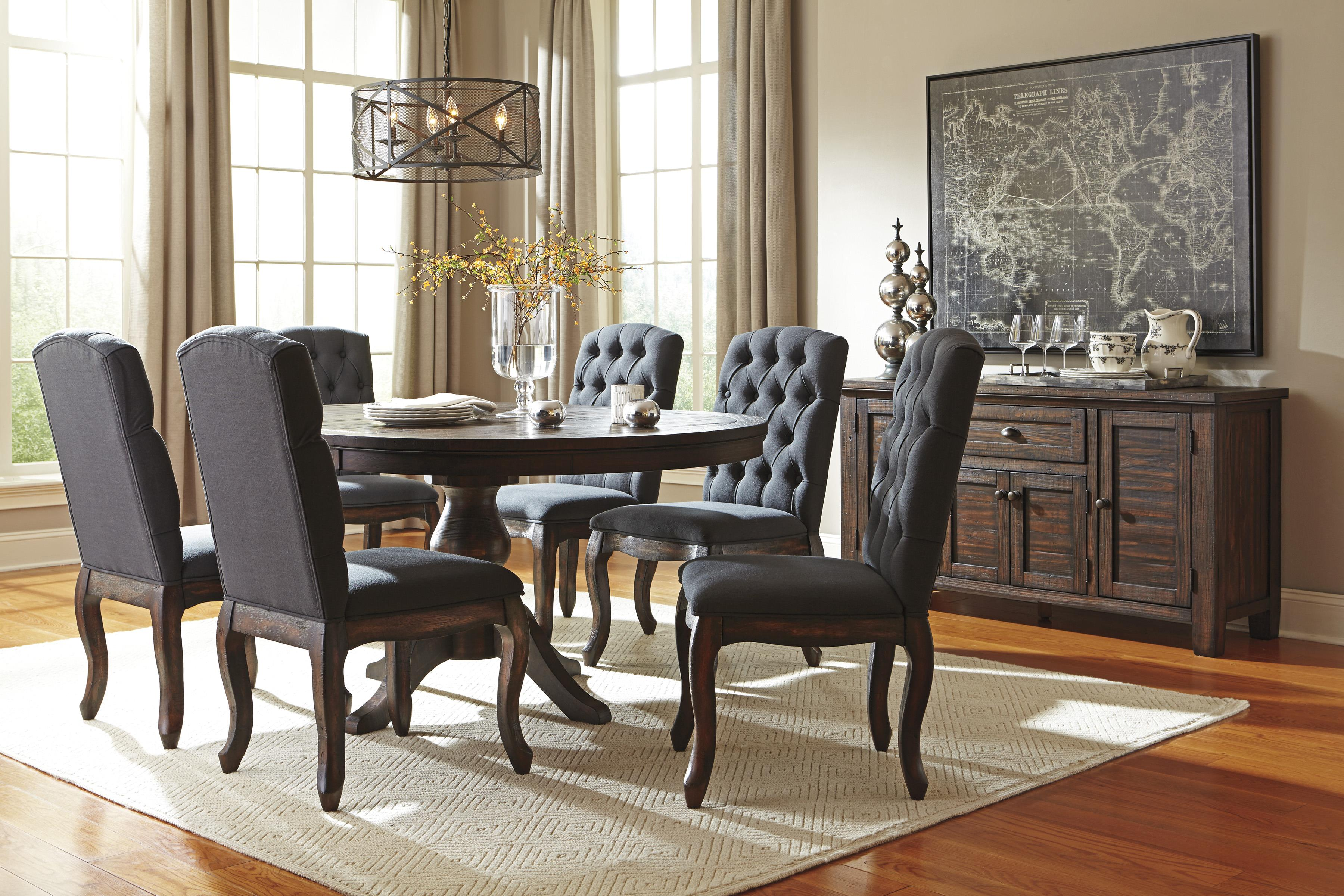7 piece oval dining table set with upholstered side chairs by signature design by ashley wolf. Black Bedroom Furniture Sets. Home Design Ideas