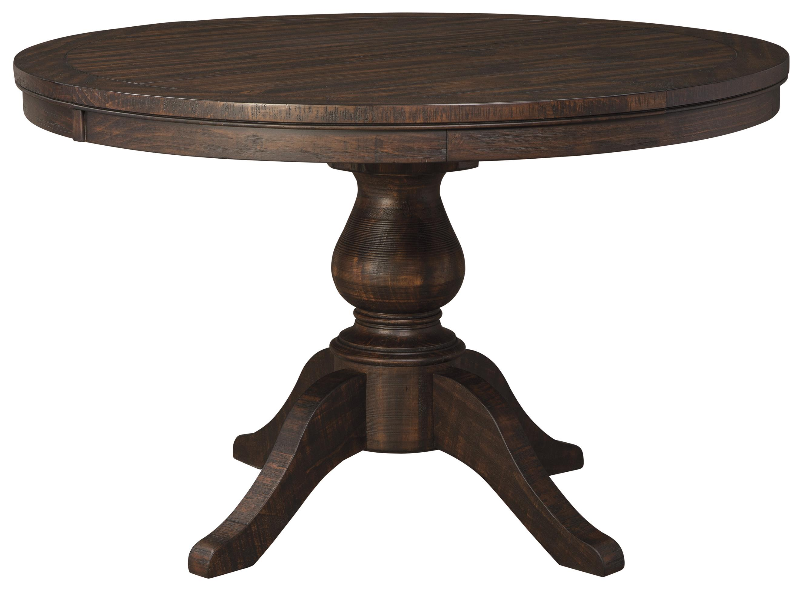 Solid wood pine round dining room pedestal extension table for Best wood for dining table