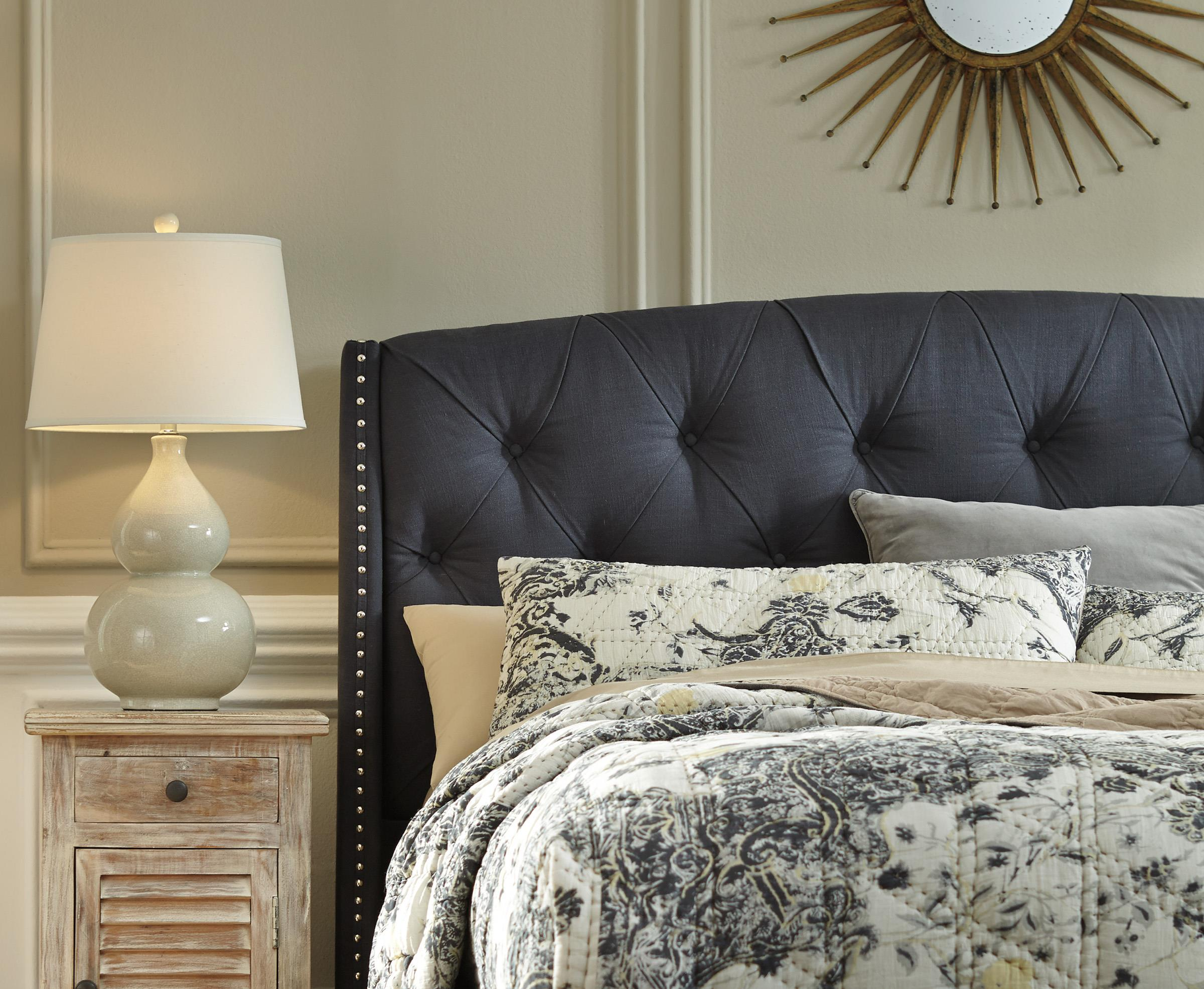 Queen upholstered headboard in dark gray with tufting and Grey tufted headboard