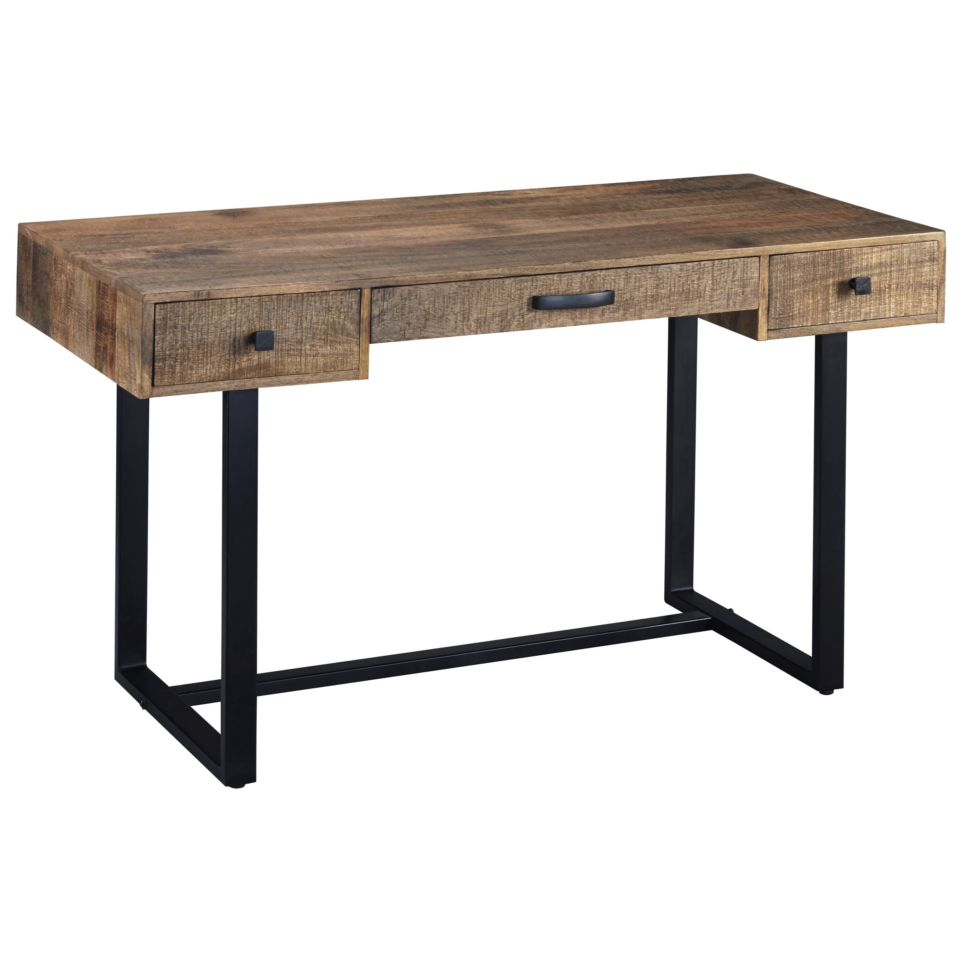 Mango wood metal home office desk by signature design by ashley wolf and gardiner wolf furniture - Metal office desk ...