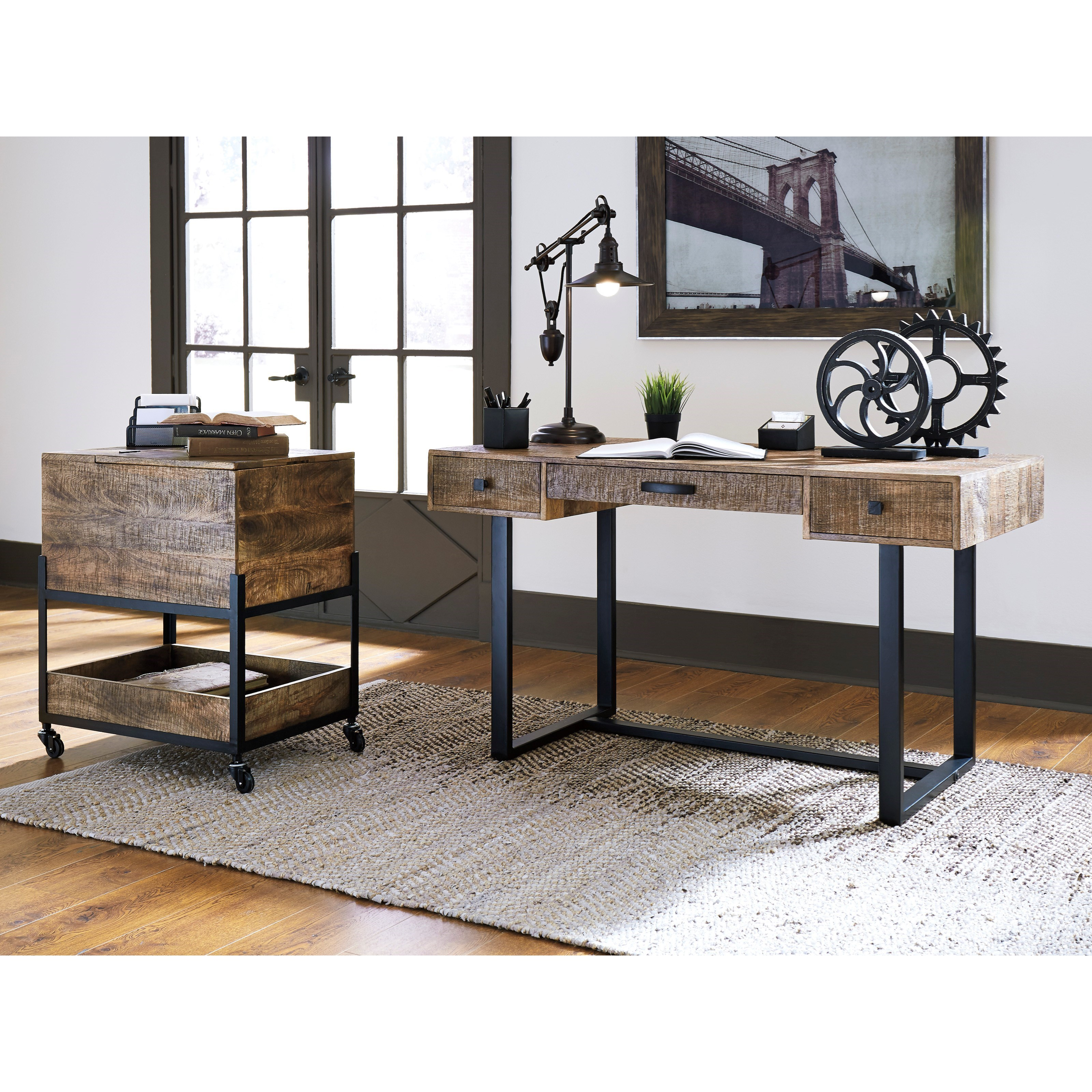 Mango wood metal home office desk by signature design by - Metal office desk ...
