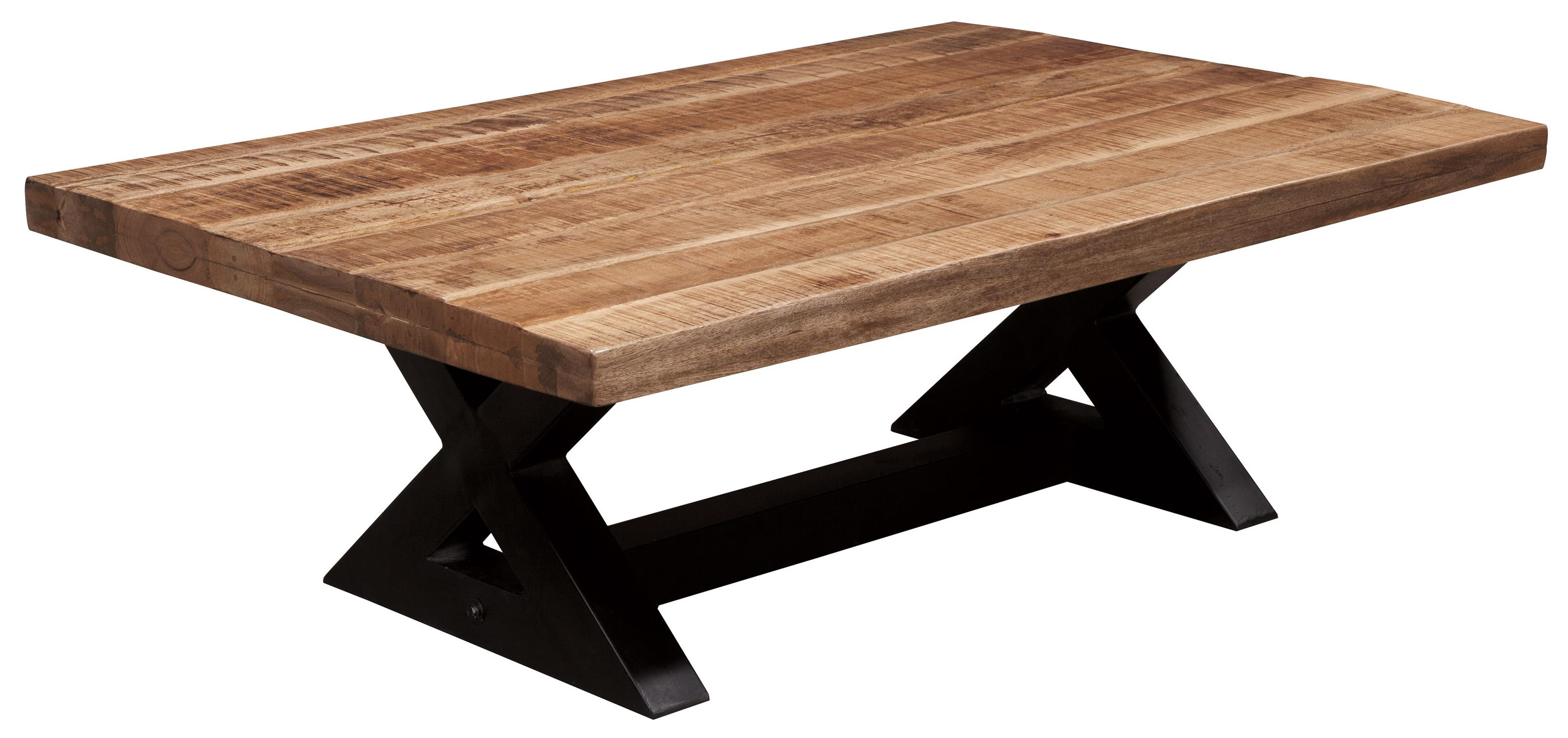 rectangular cocktail table with mango wood top metal x braced base by signature design by. Black Bedroom Furniture Sets. Home Design Ideas